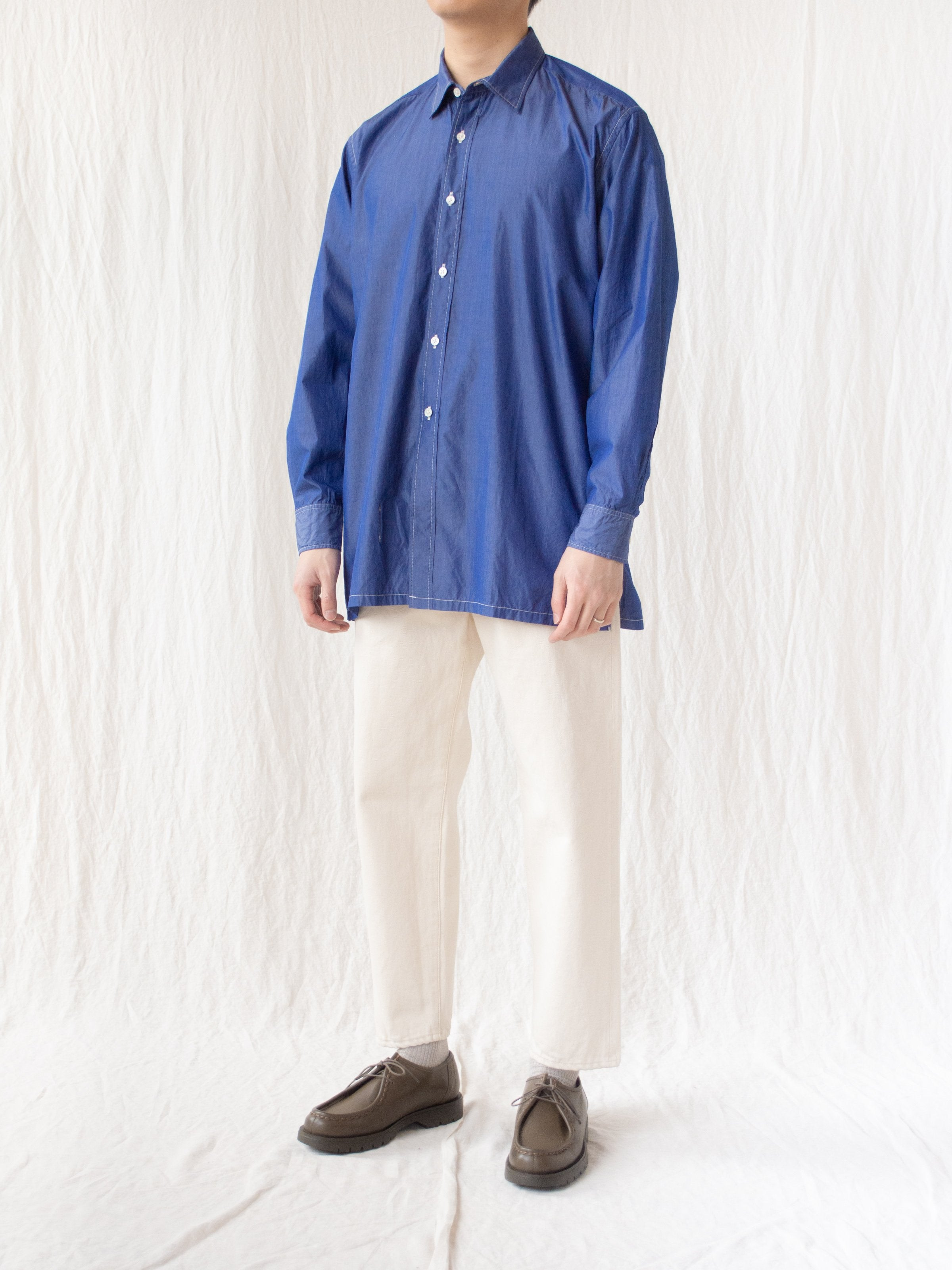 Namu Shop - Kaptain Sunshine Regular Collar Shirt - Blue Chambray