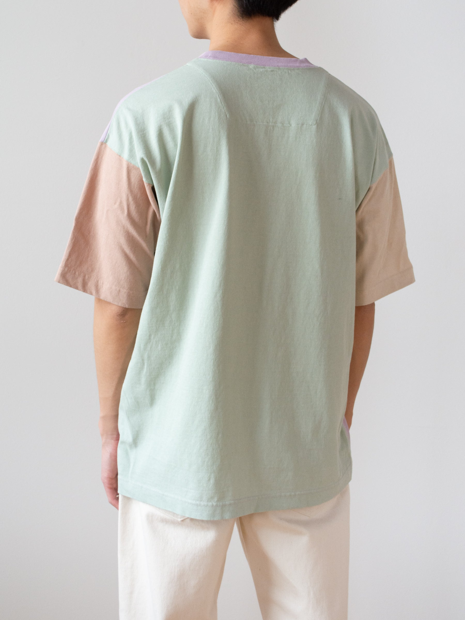 Color Panel Oversized Dry Touch T-Shirt - Lavender
