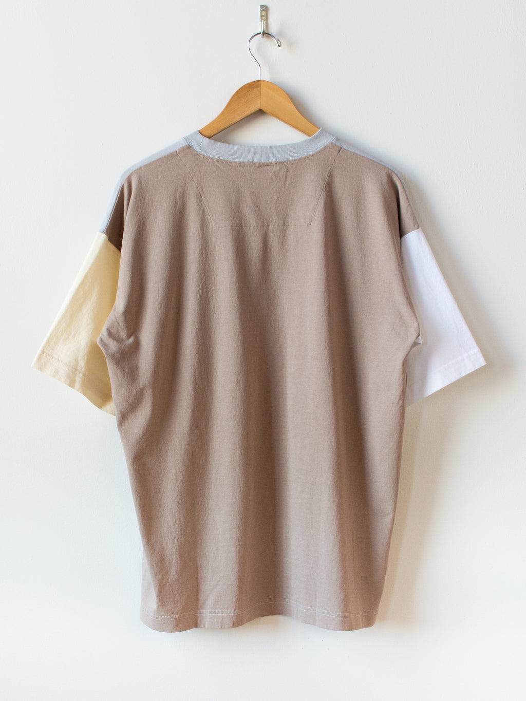 Color Panel Oversized Dry Touch T-Shirt - Light Gray