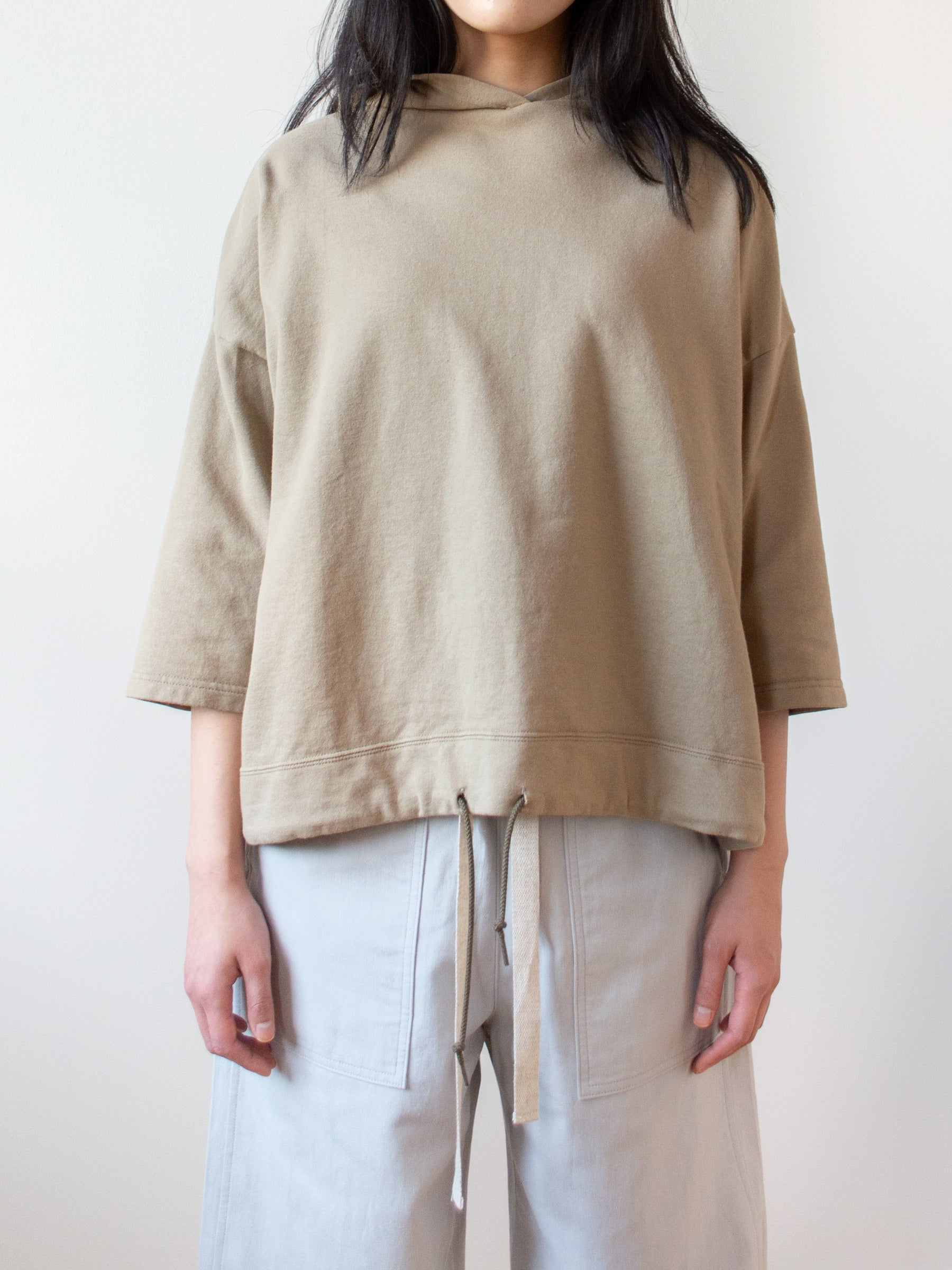 Cotton Hooded Sweatshirt - Beige