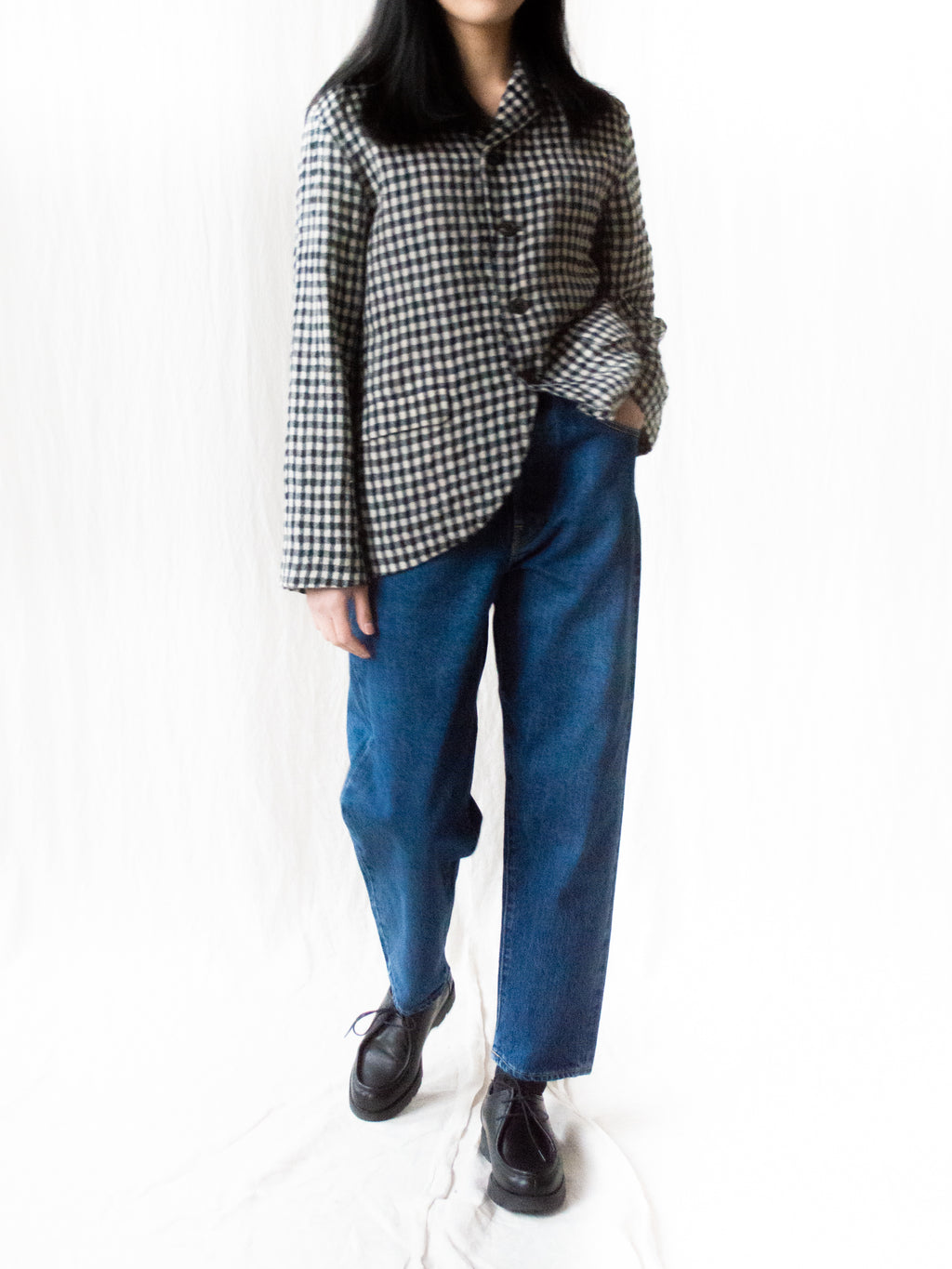 Cotton Wool Gingham Jacket - Natural x Black