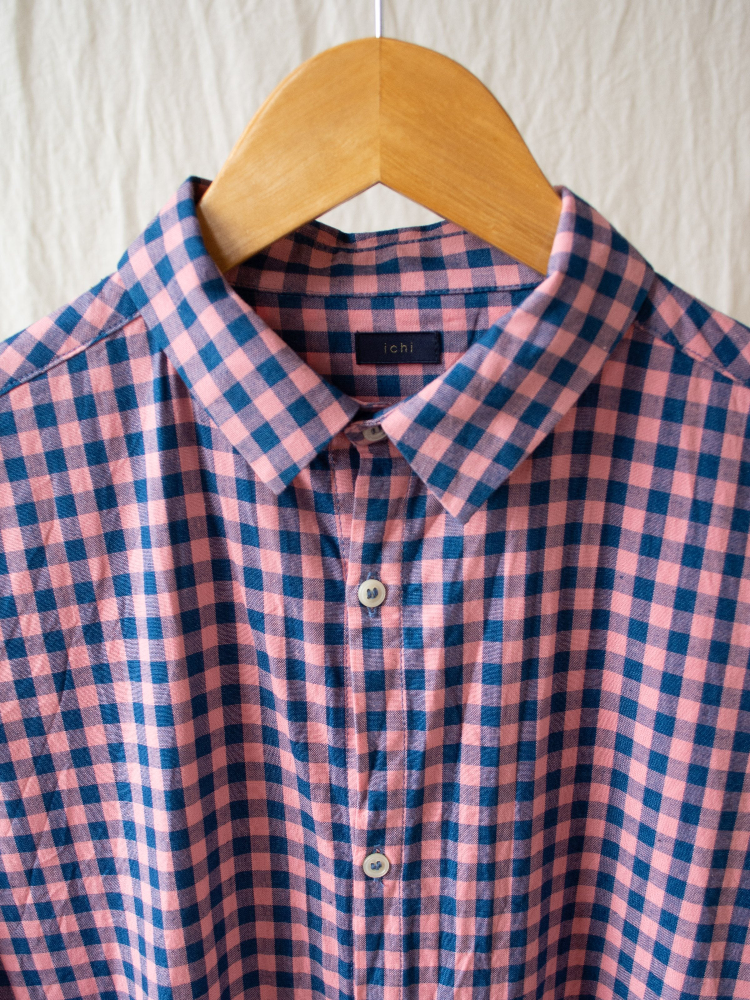 Namu Shop - Ichi Antiquites Pink x Indigo Gingham Shirt Dress