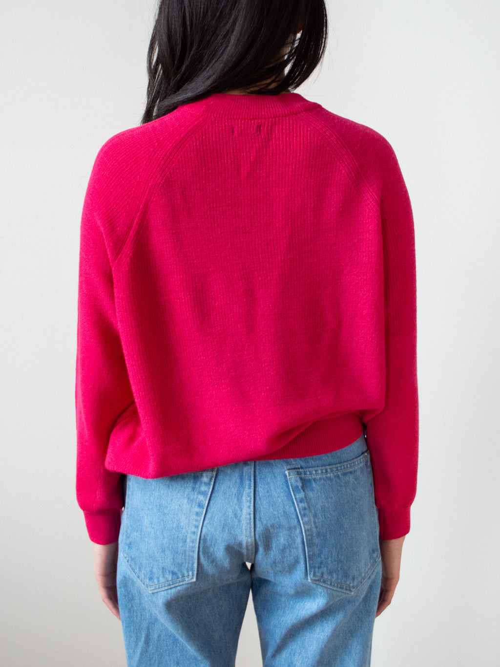 Mature Wool Rib Crew Sweater - Pink