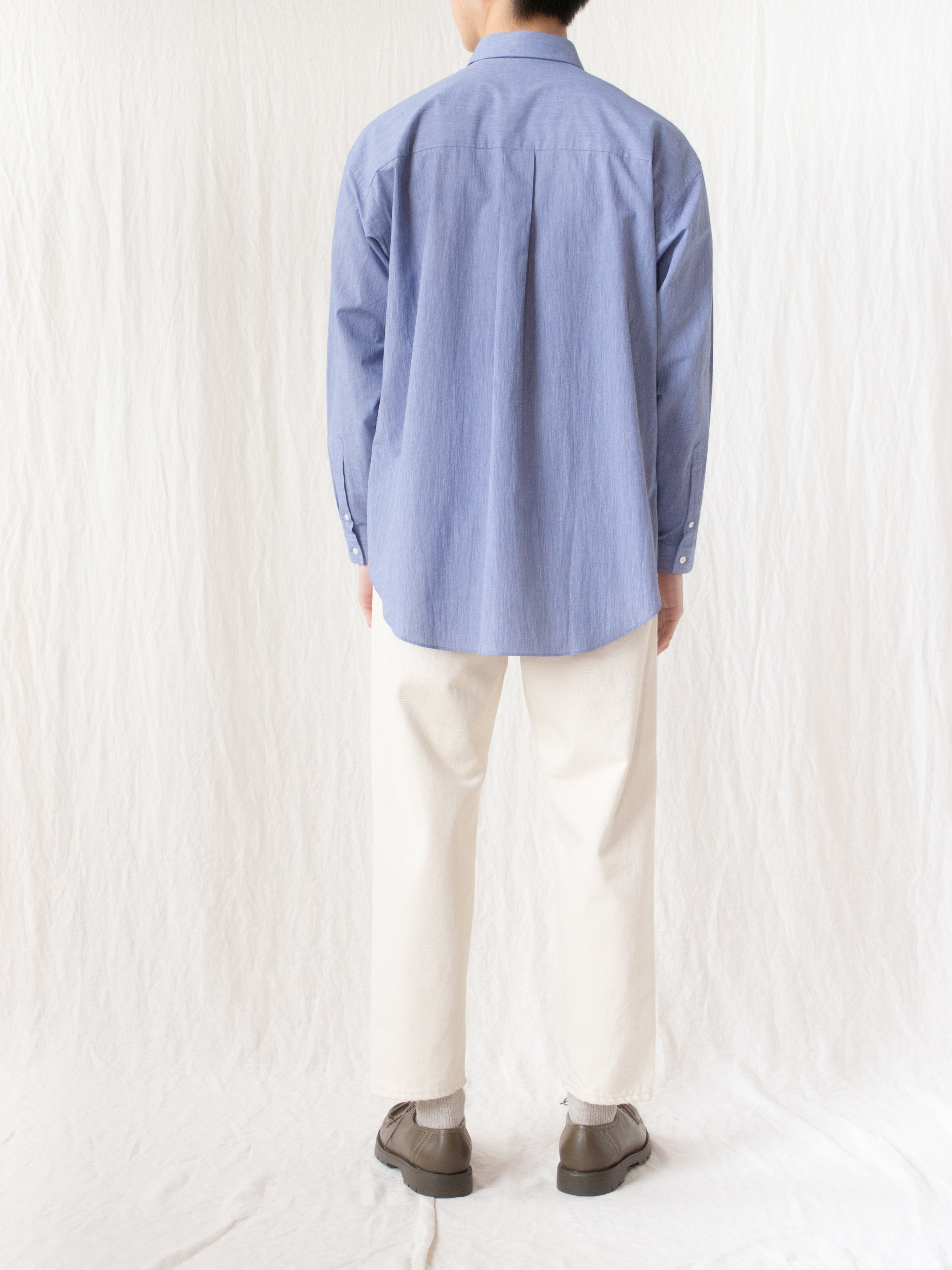 Namu Shop - Phlannel Cotton Voile Yarn Oversized Shirt - Blue