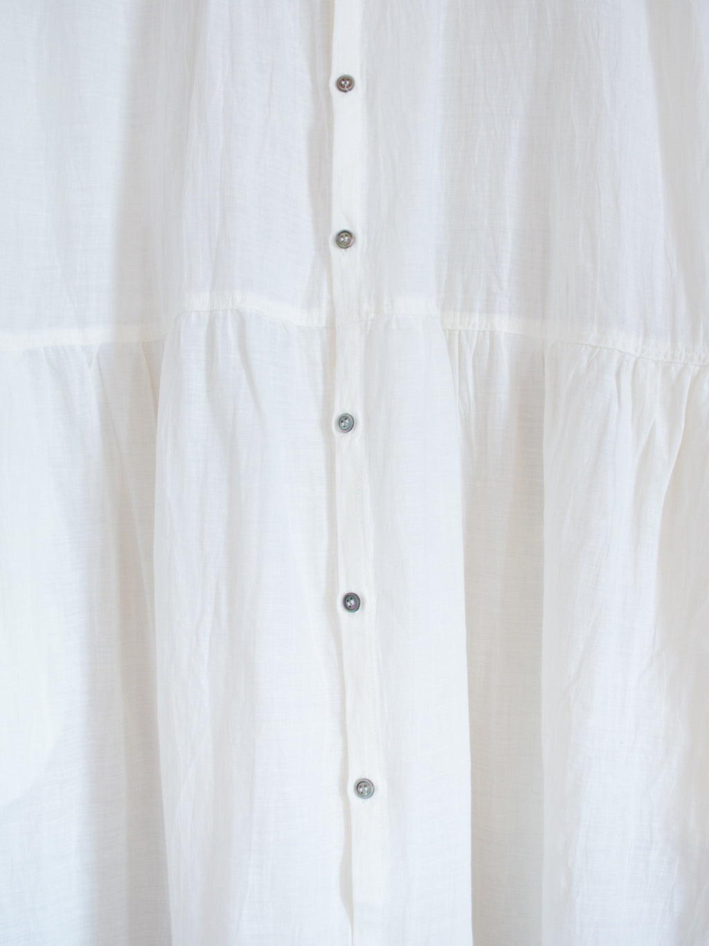 Namu Shop - Ichi Antiquites Cotton Linen Belted Gather Dress - White