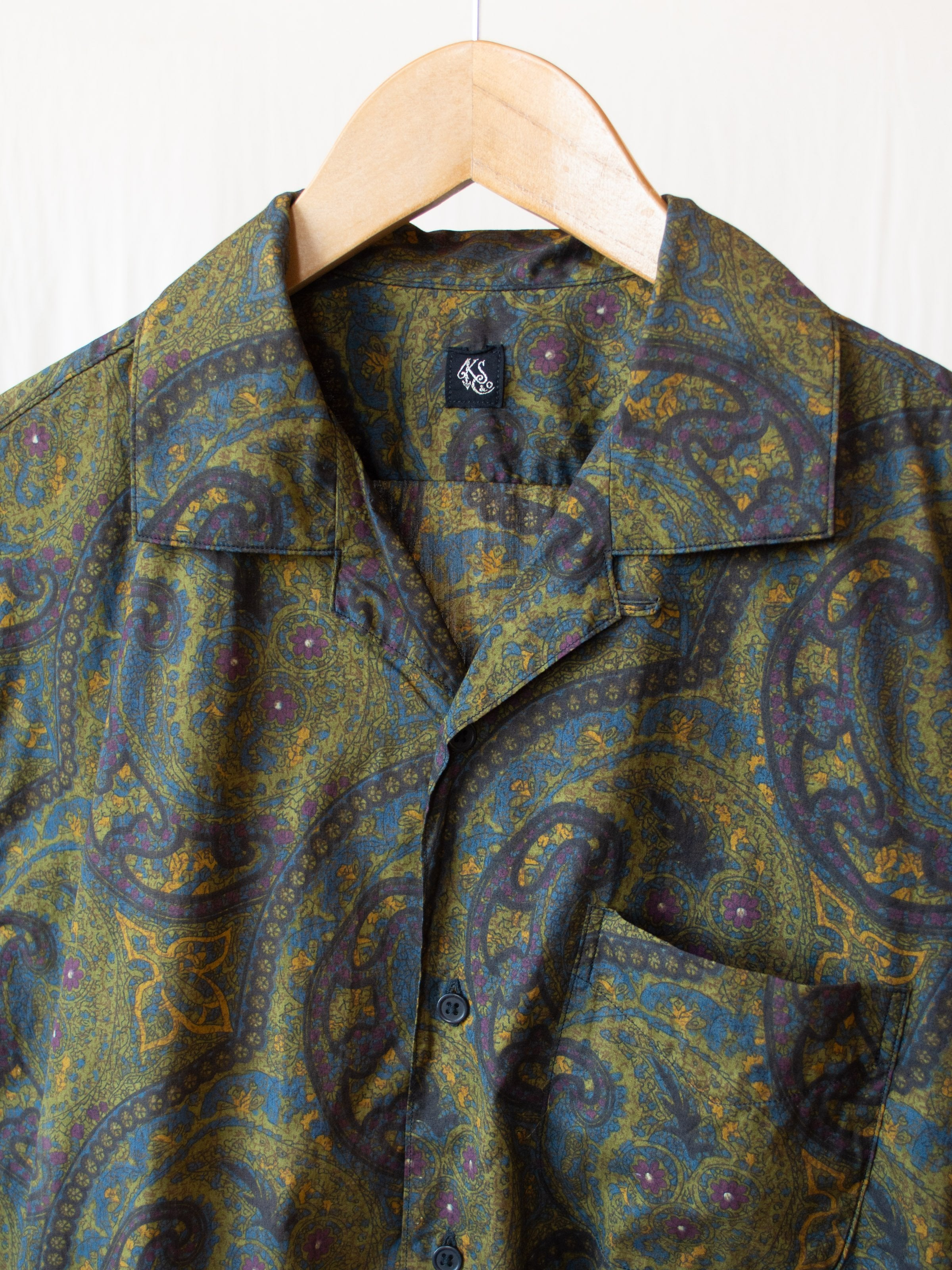 Namu Shop - Kaptain Sunshine Open Collar S/S Shirt - Hand Printed Dark Paisley