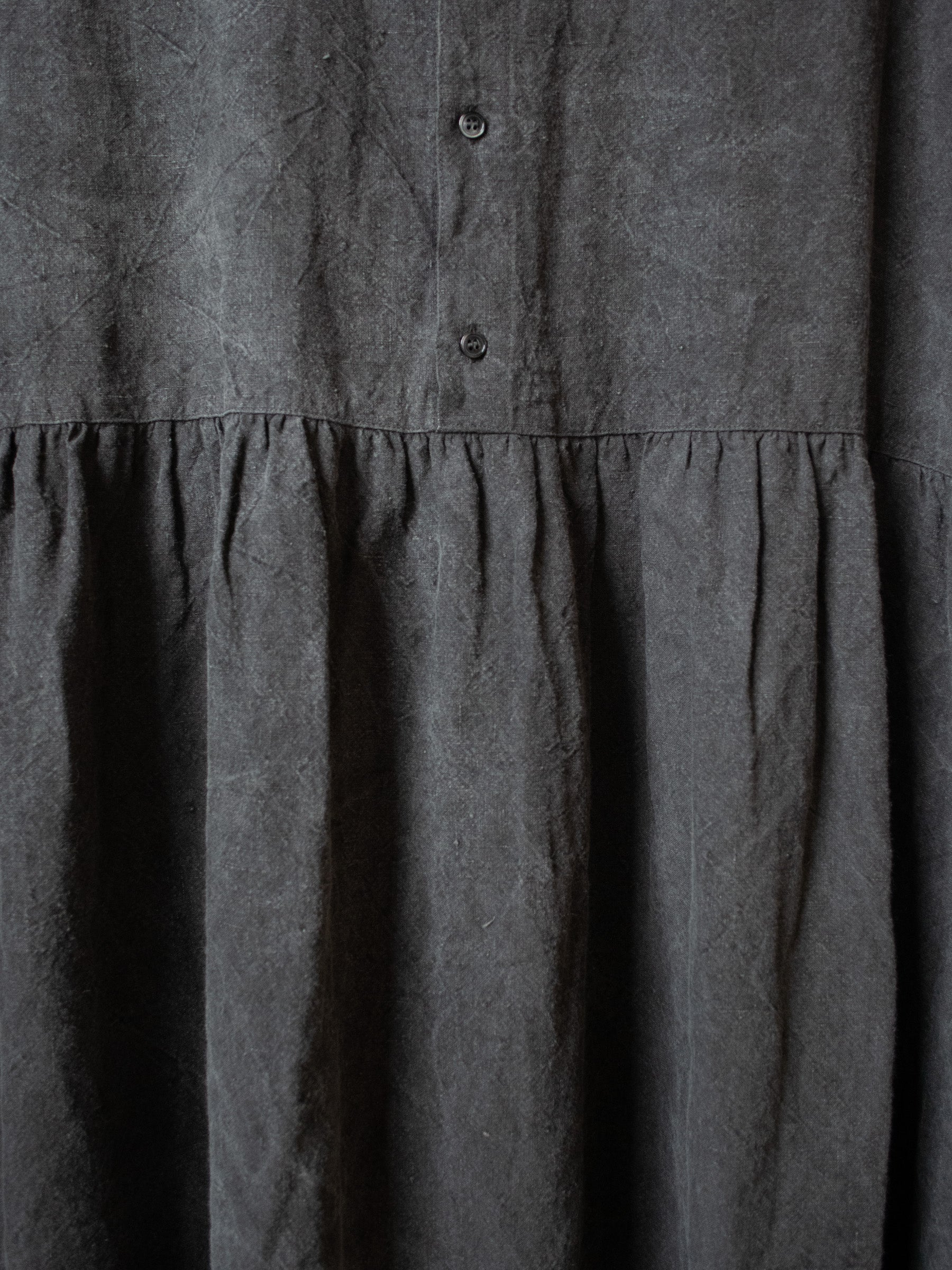 Natural Dyed 2 Way Cotton/Washi Dress - Sumi Dark