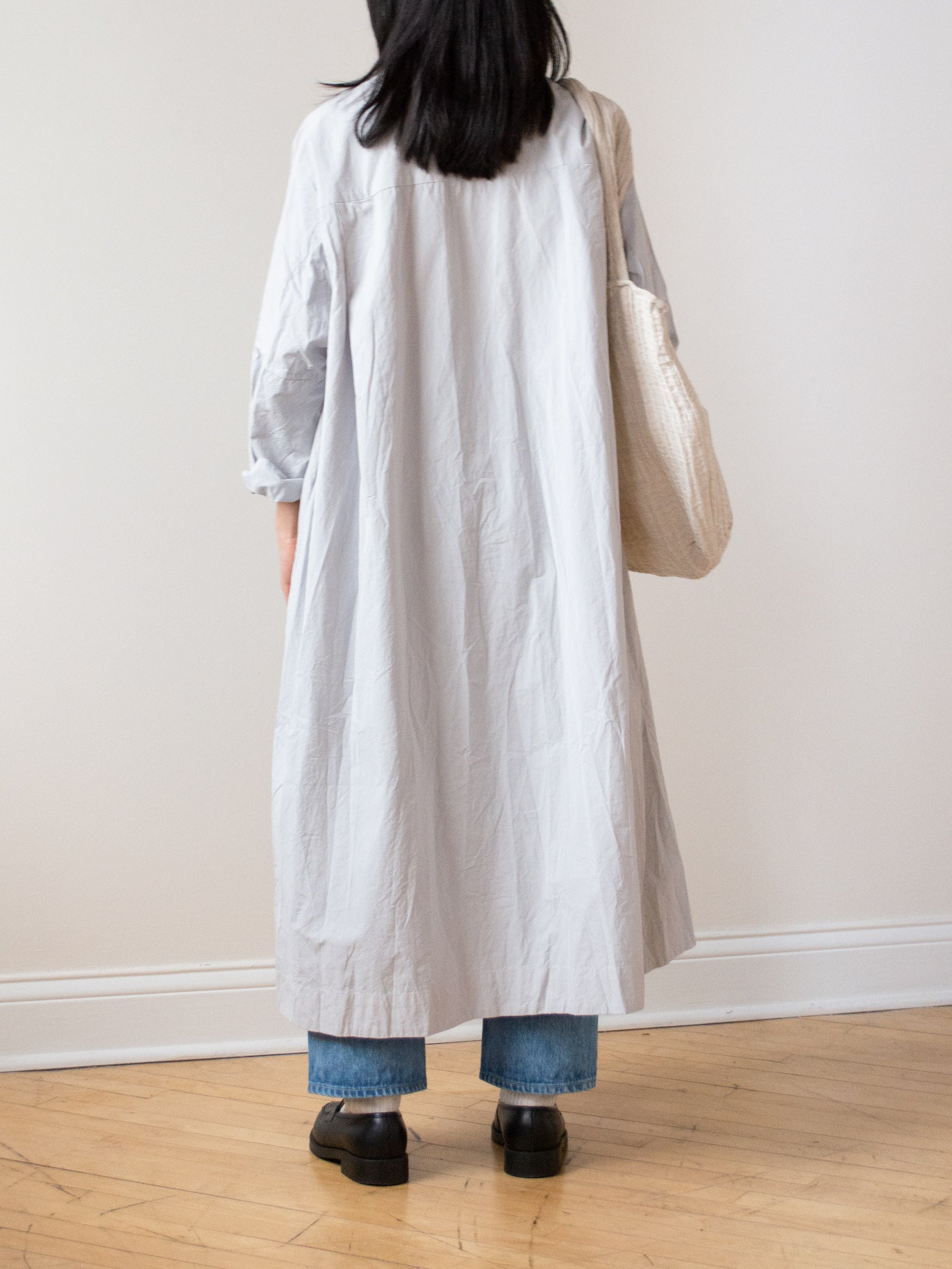 Typewriter Cotton Shirt Dress - Ash