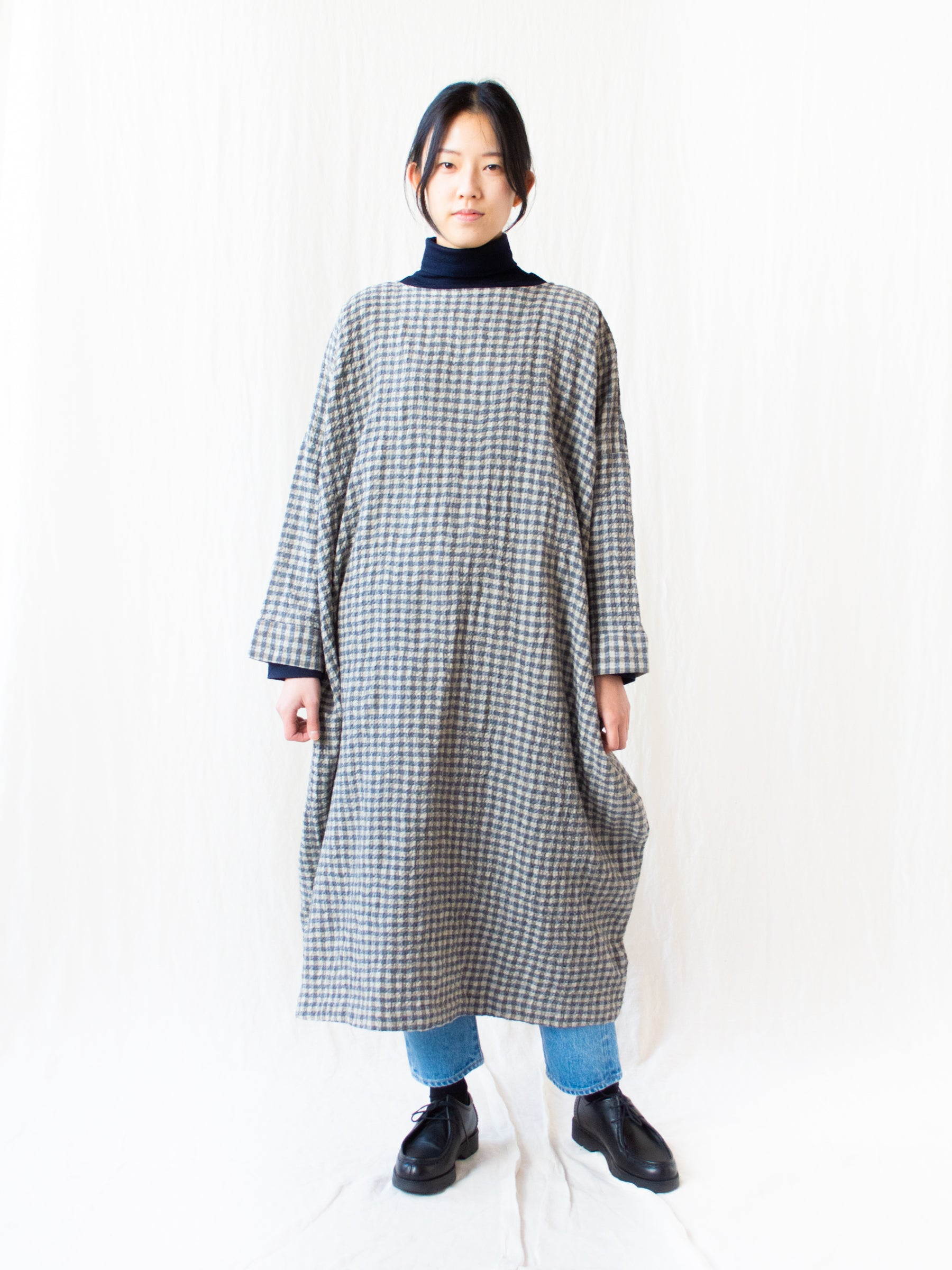 Cotton Wool Gingham Dress - Greige
