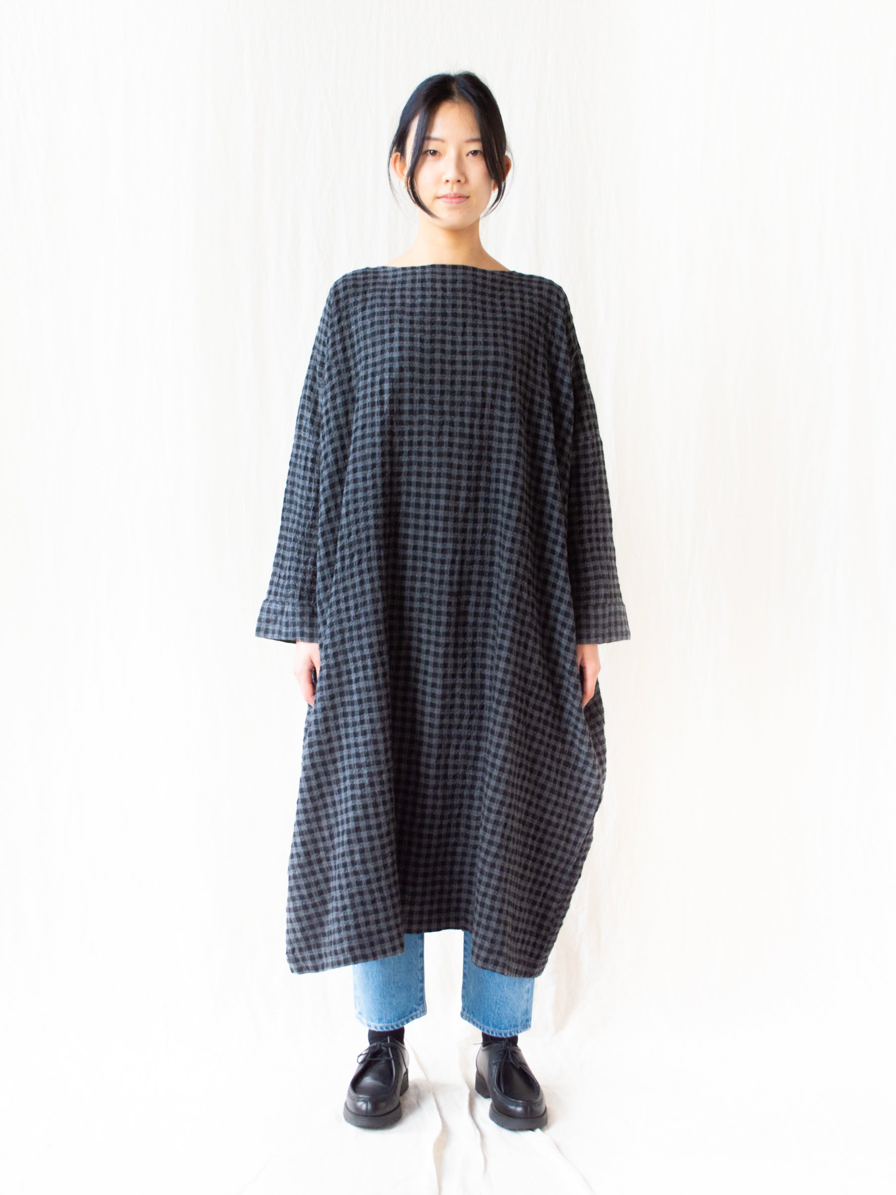 Cotton Wool Gingham Dress - Charcoal