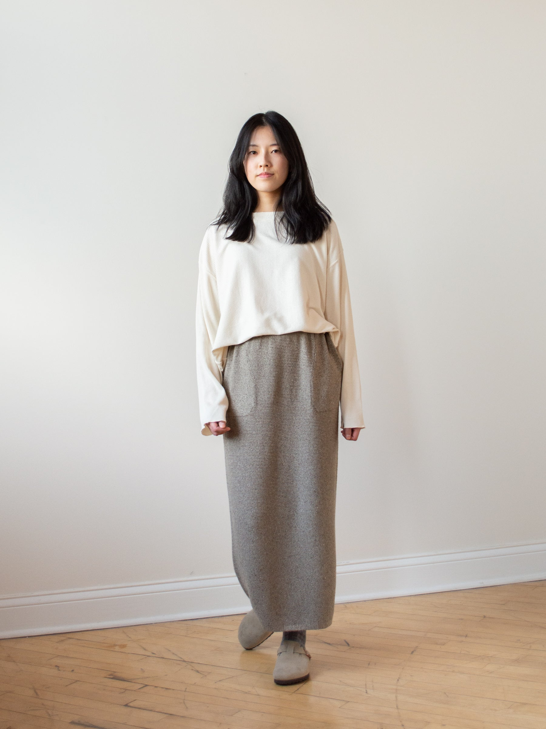 Mulberry & Raw Silk Knit Skirt