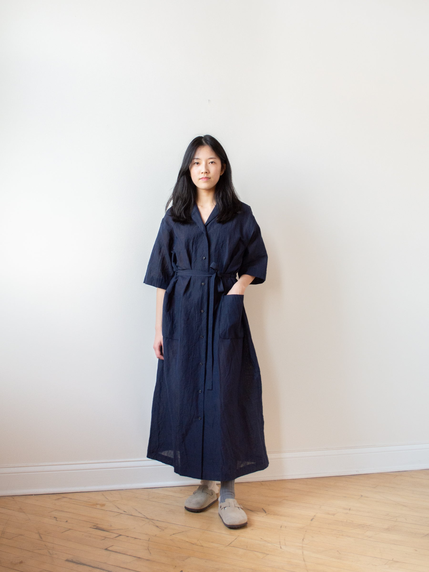 Cotton Linen Voile Open Collared Dress - Navy