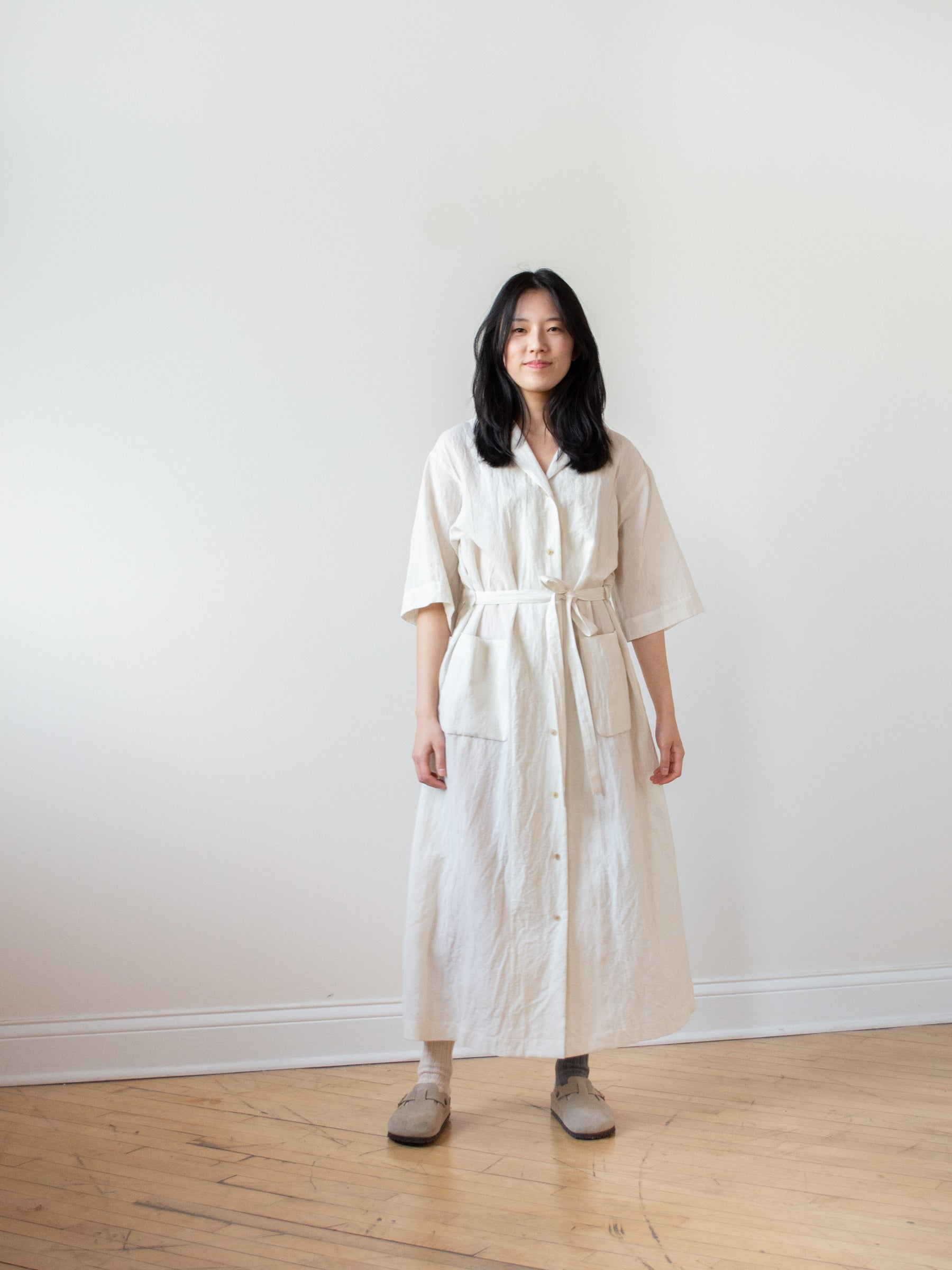 Cotton Linen Voile Open Collared Dress - Ivory