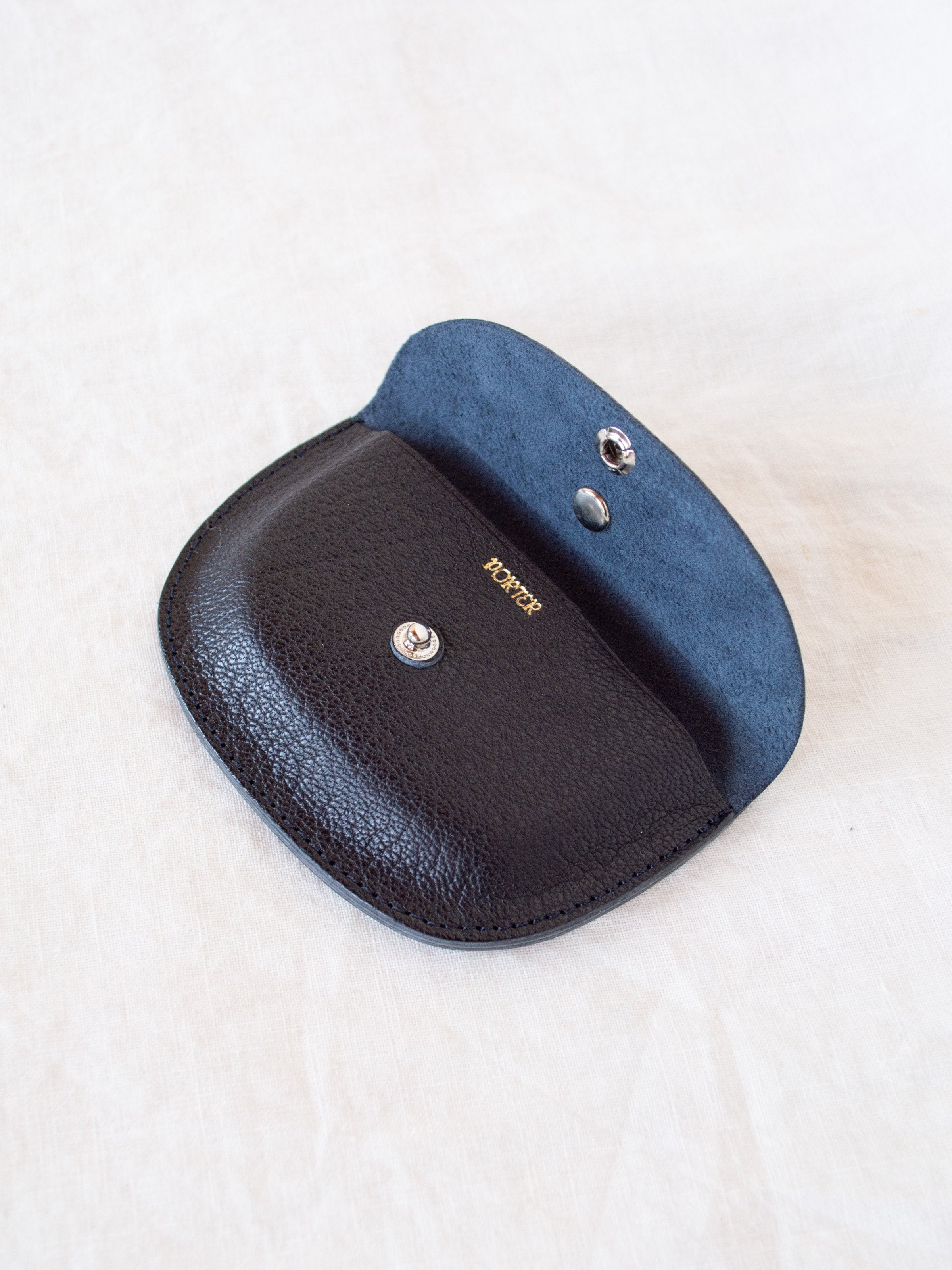Namu Shop - Kaptain Sunshine Leather Round Wallet - Black