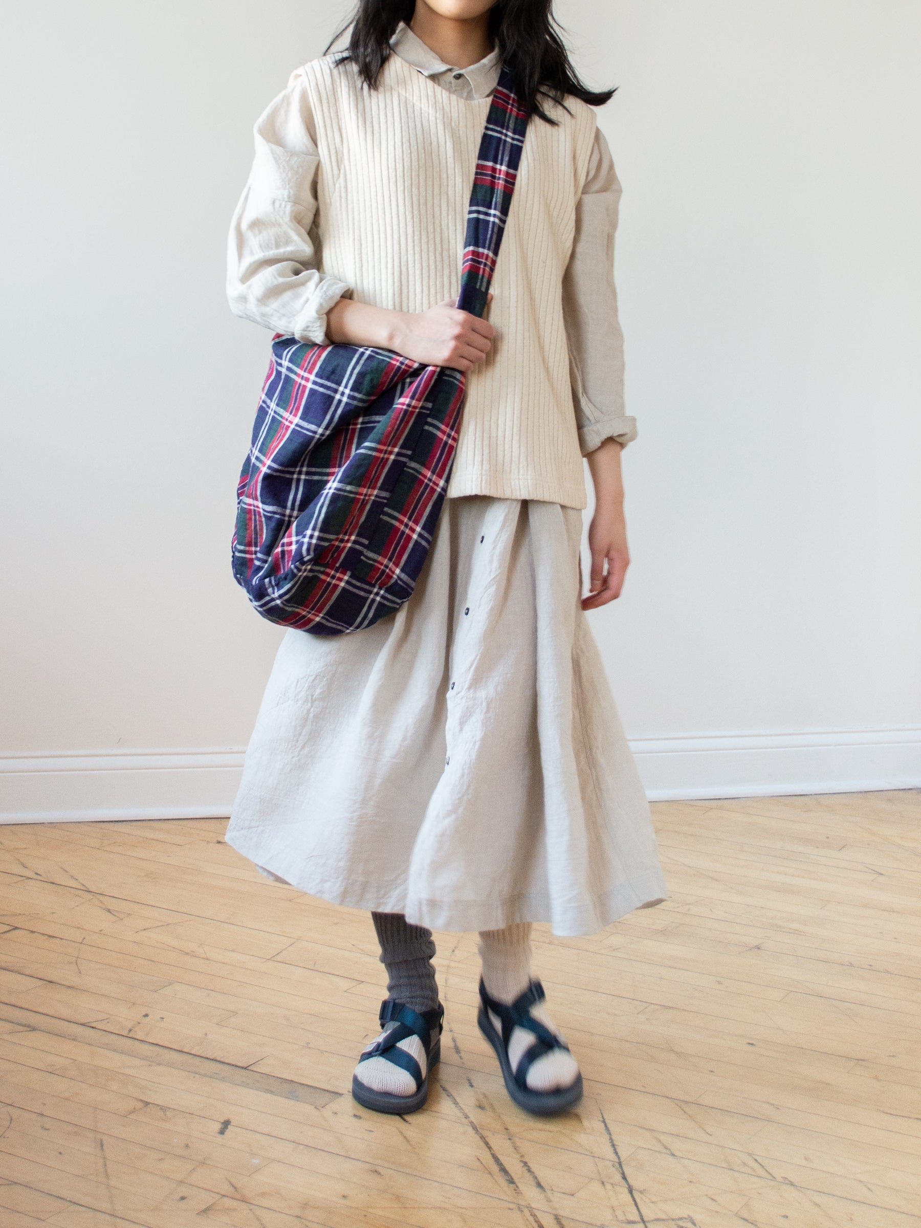 Linen Tartan Check Two Way Bag - Navy