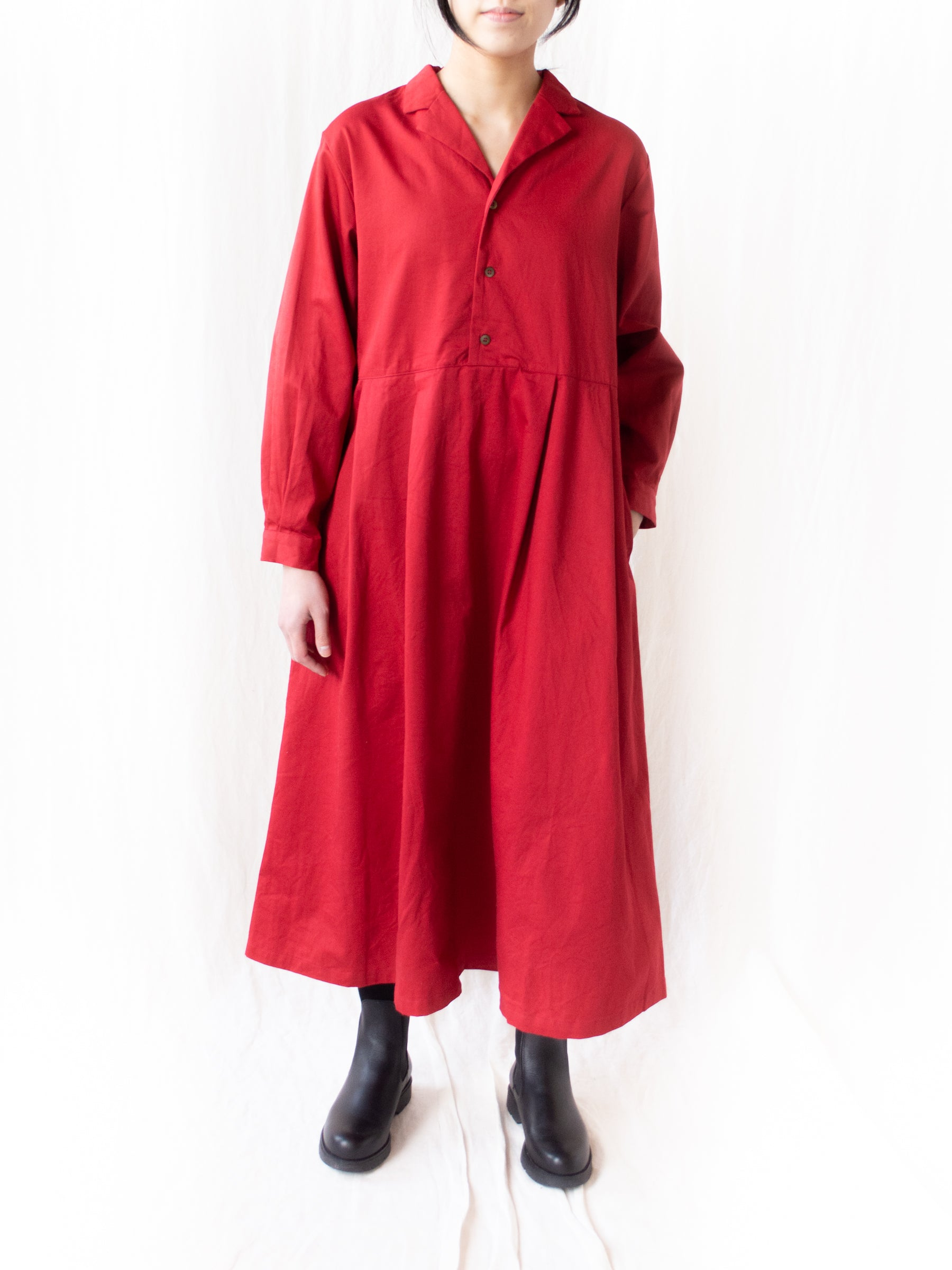 Open Collar Dress - Red