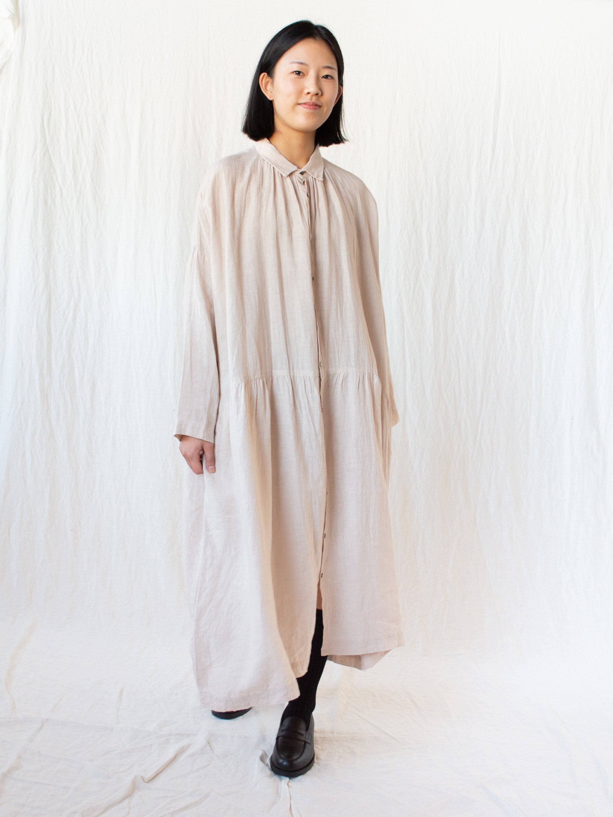 Namu Shop - Ichi Antiquites Linen Gather Dress - Peach