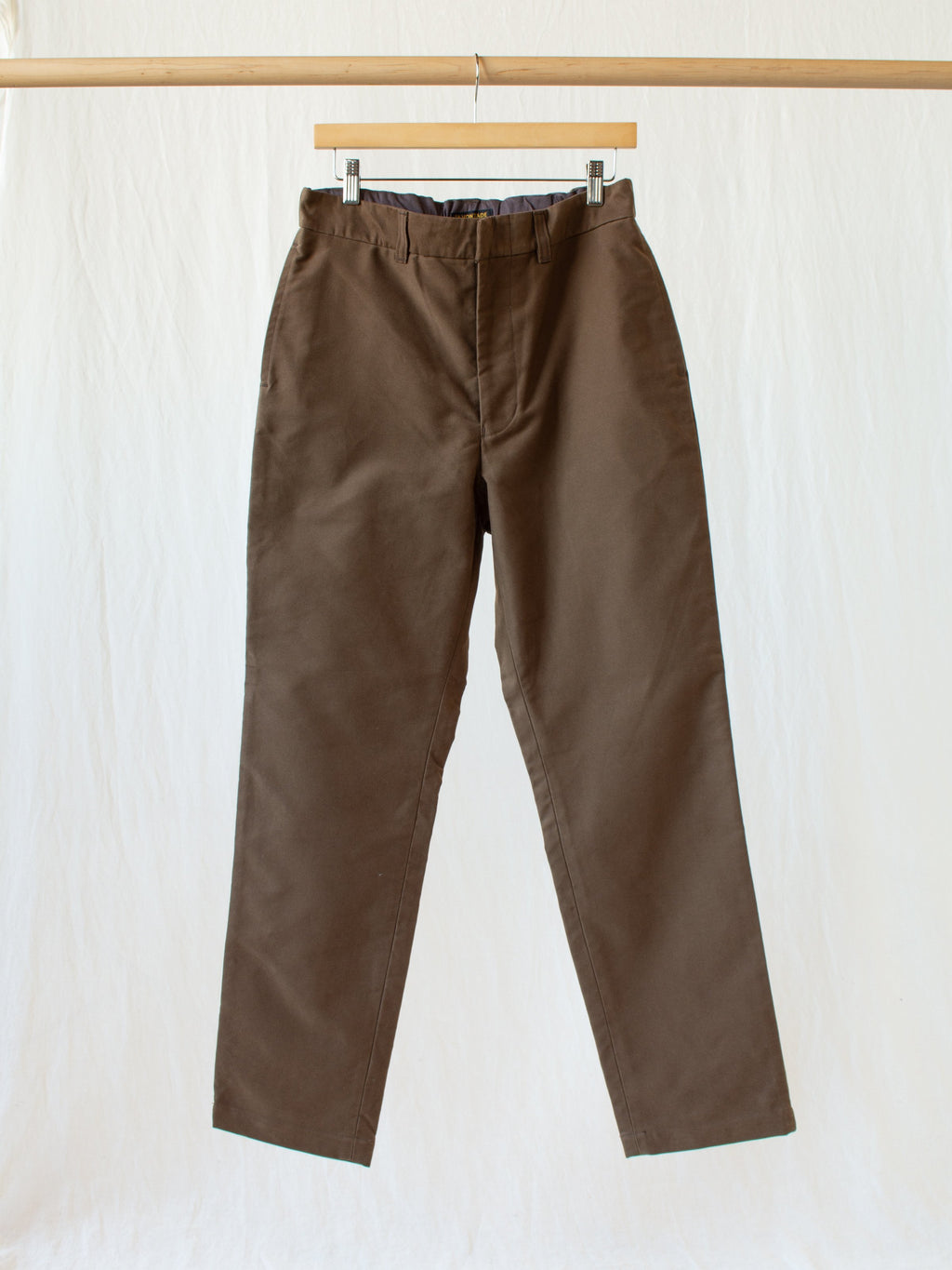 Cotton Moleskin Easy Trousers - Cigar Brown