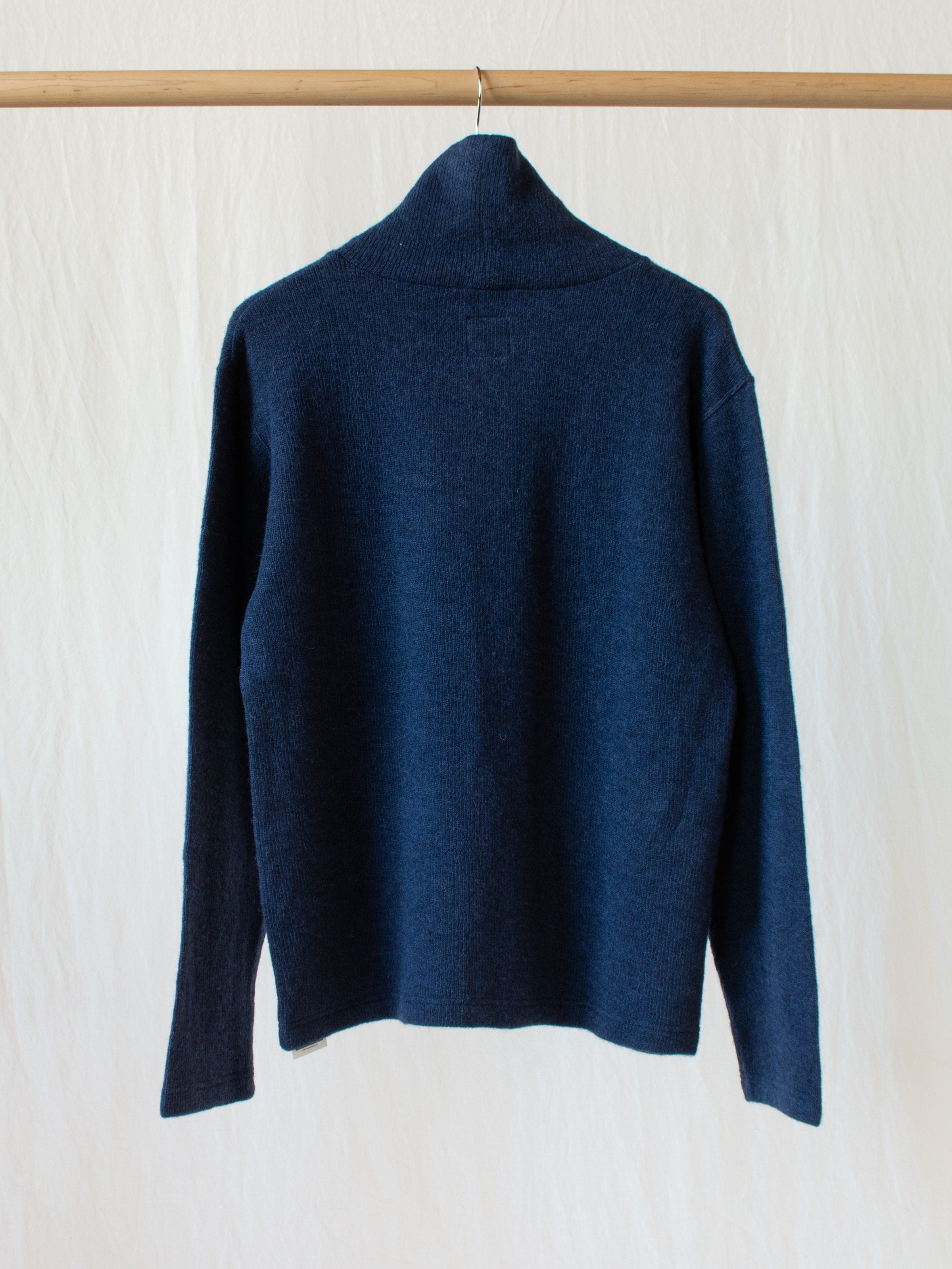 Wool Blend Turtleneck with Double Face Jersey Lining - Navy