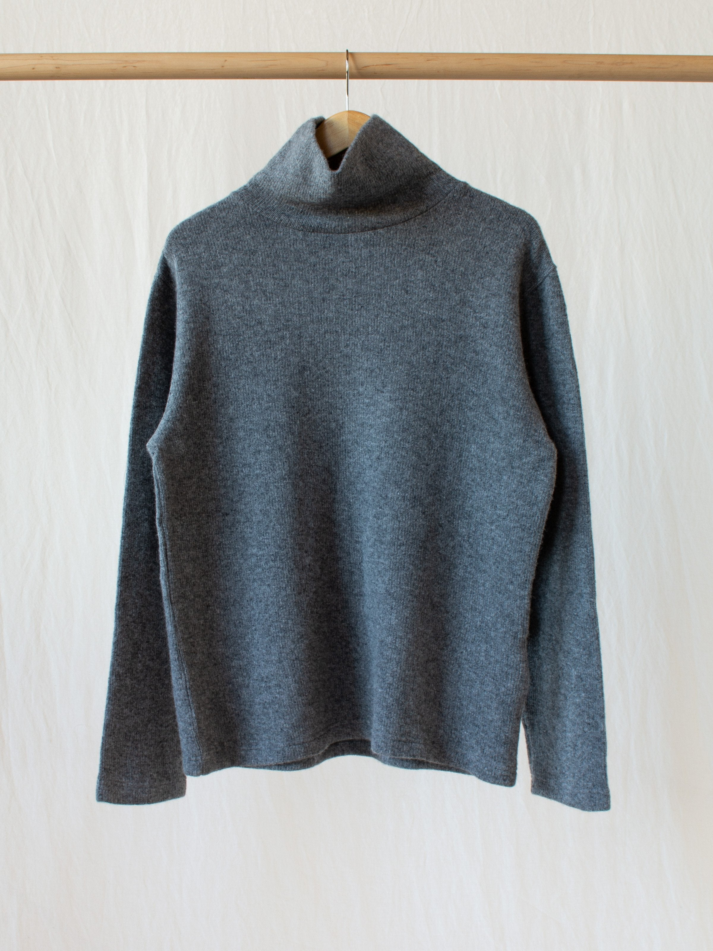 Wool Blend Turtleneck with Double Face Jersey Lining - Gray