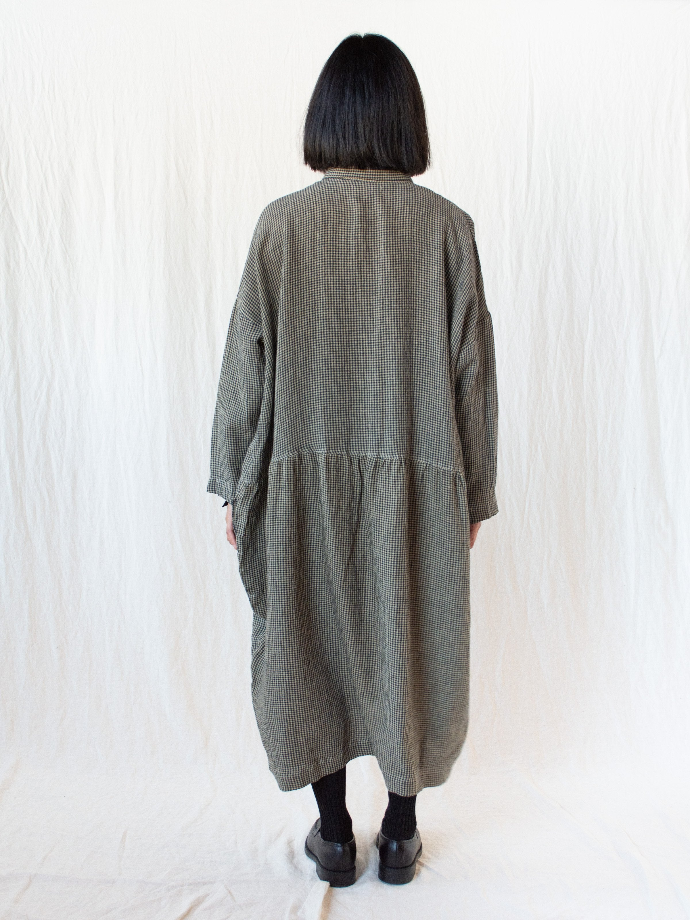 Namu Shop - Ichi Antiquites AZUMADAKI Linen Gingham Dress - Beige x Black