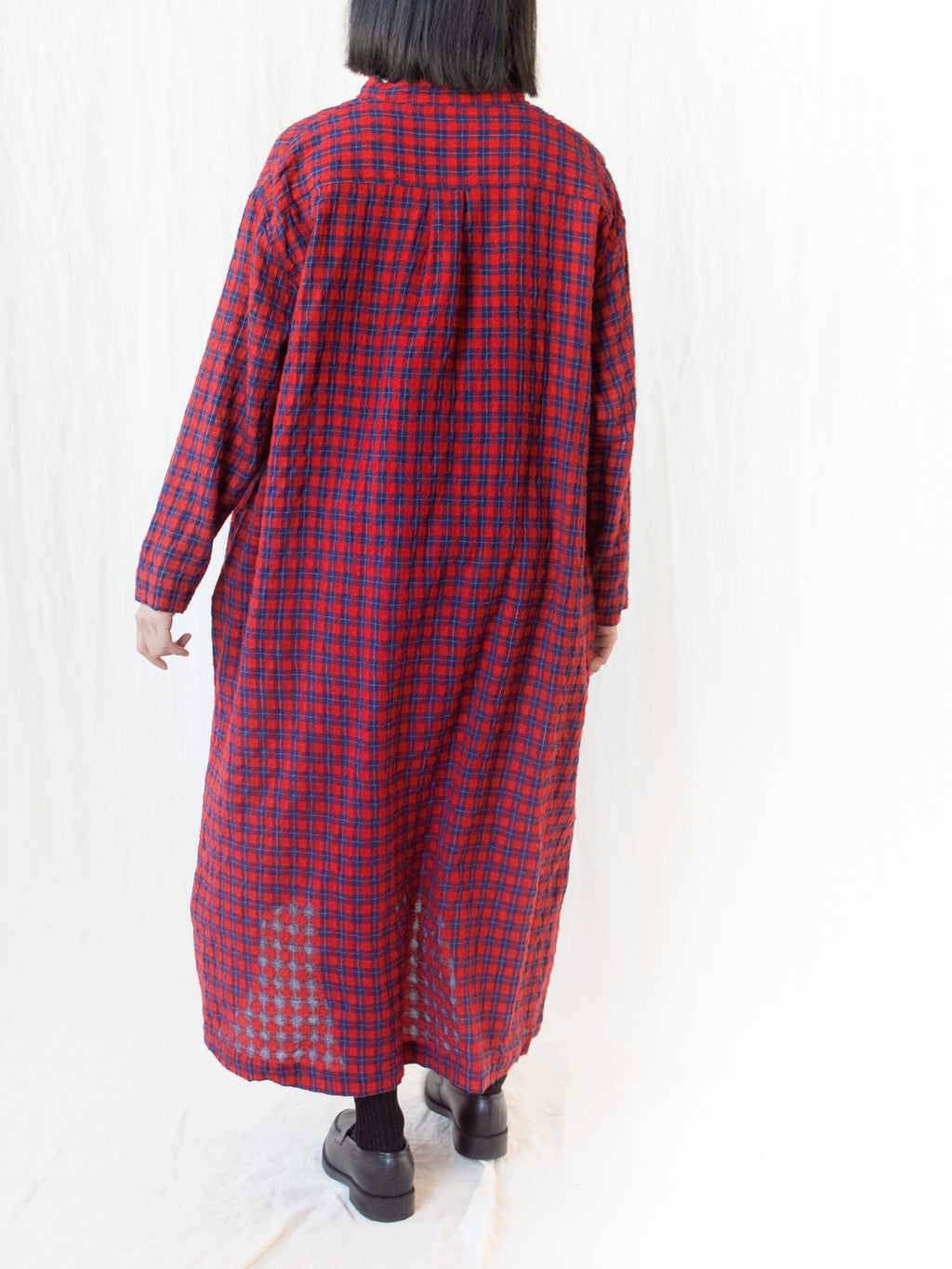 Namu Shop - Ichi Antiquites Wool Gauze Check Dress - Red