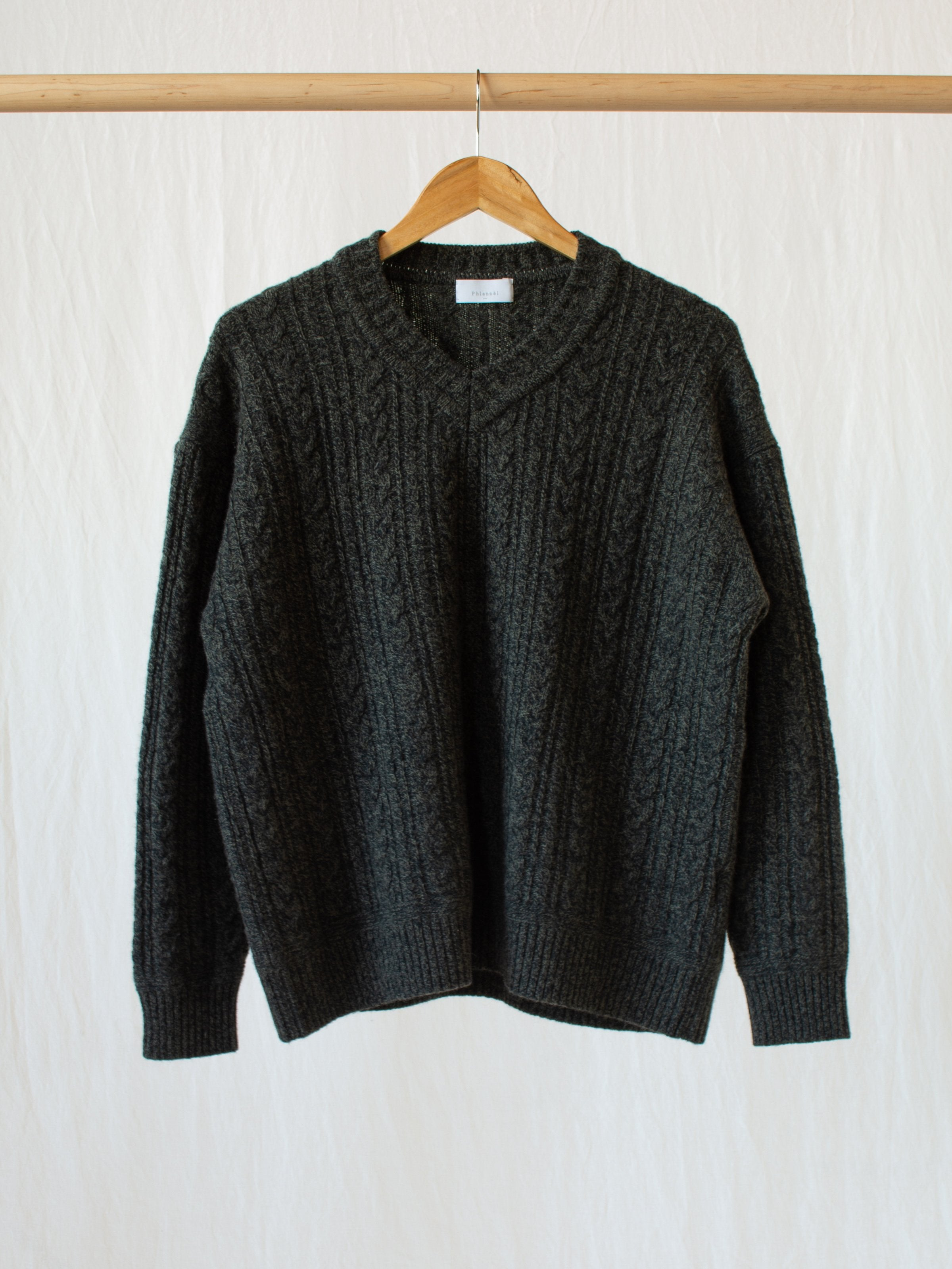 Namu Shop - Phlannel Wool Yak Cable V-Neck Knit - Olive Black