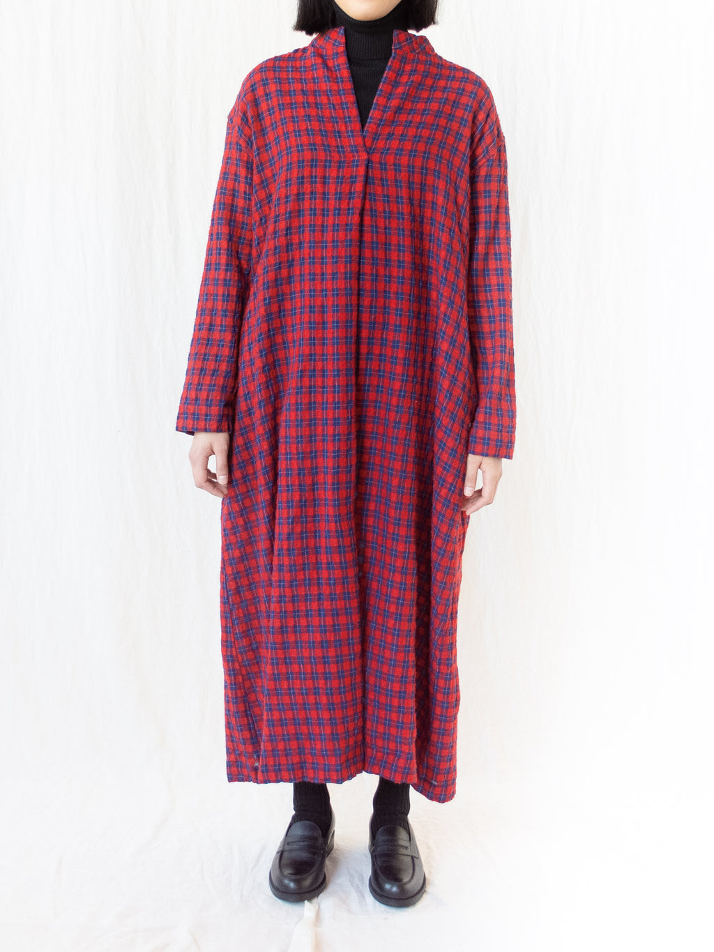 Wool Gauze Check Dress - Red