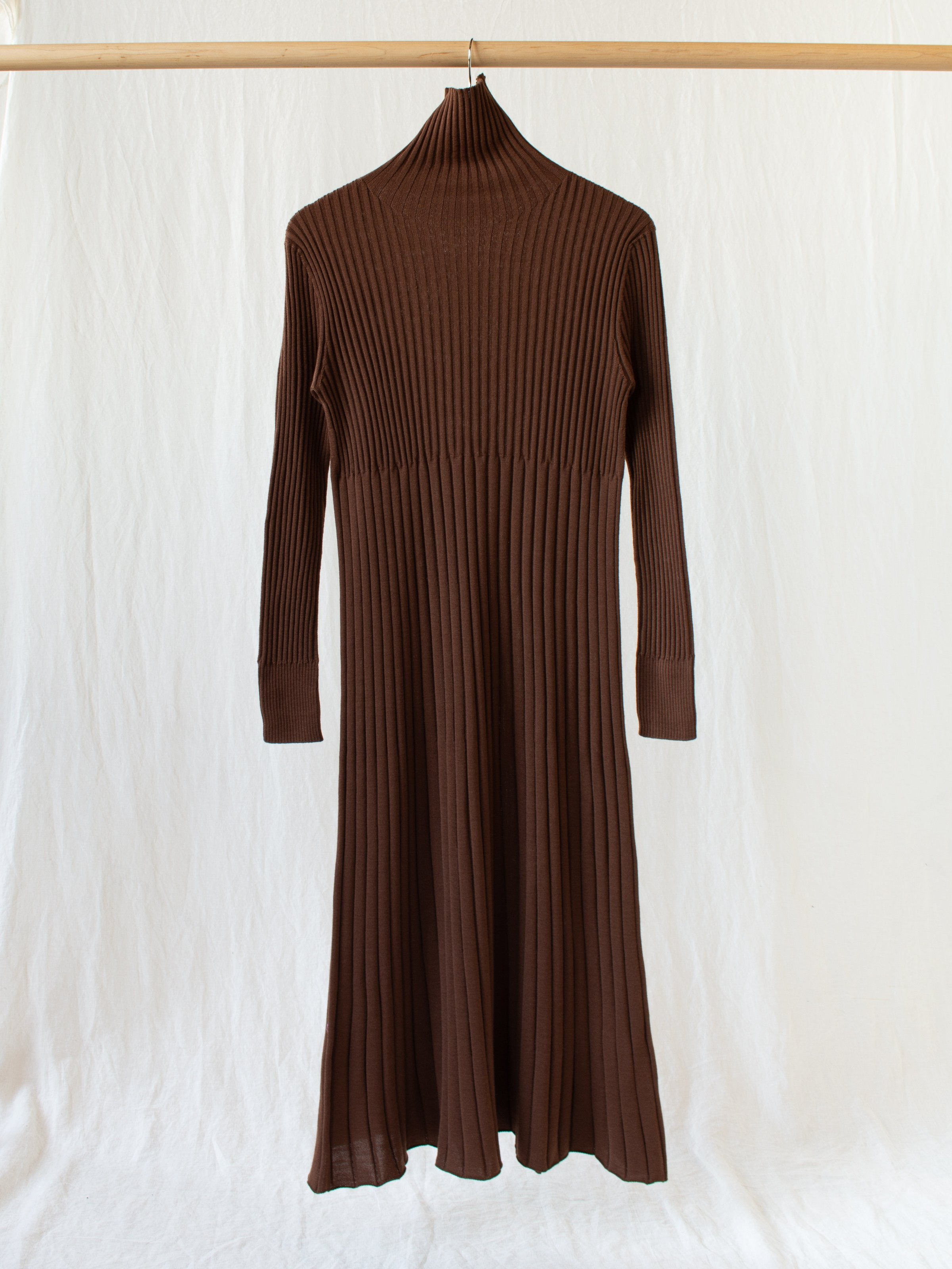 Wool Wide Rib Knit Dress - Maroon Brown