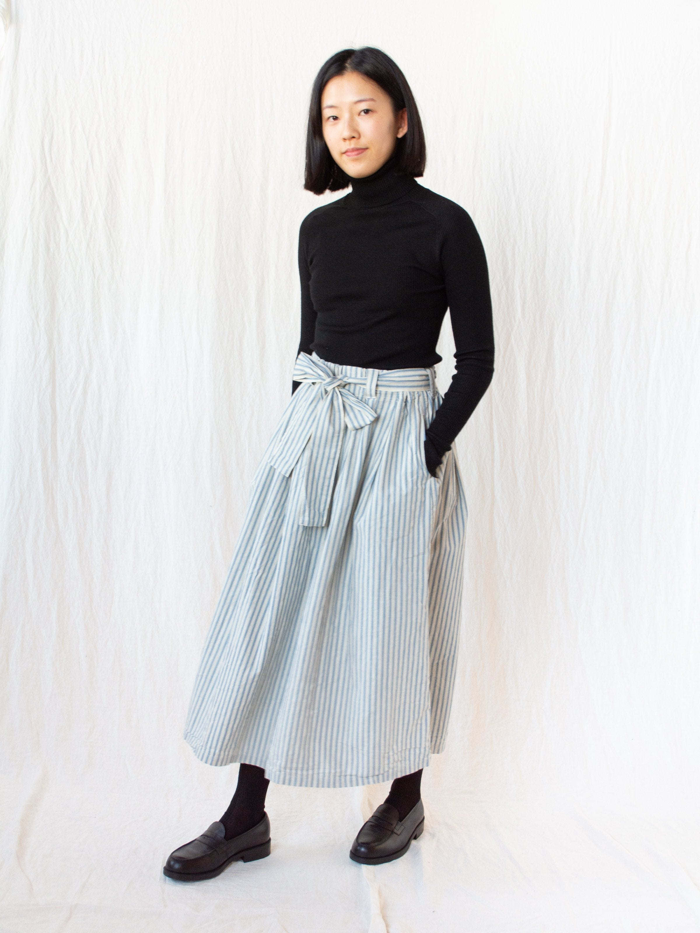 Namu Shop - Ichi Antiquites Indigo Stripe Skirt - Light Indigo