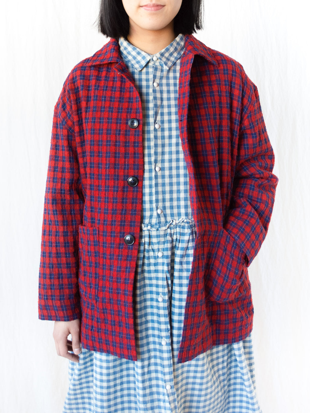 Wool Gauze Check Jacket - Red