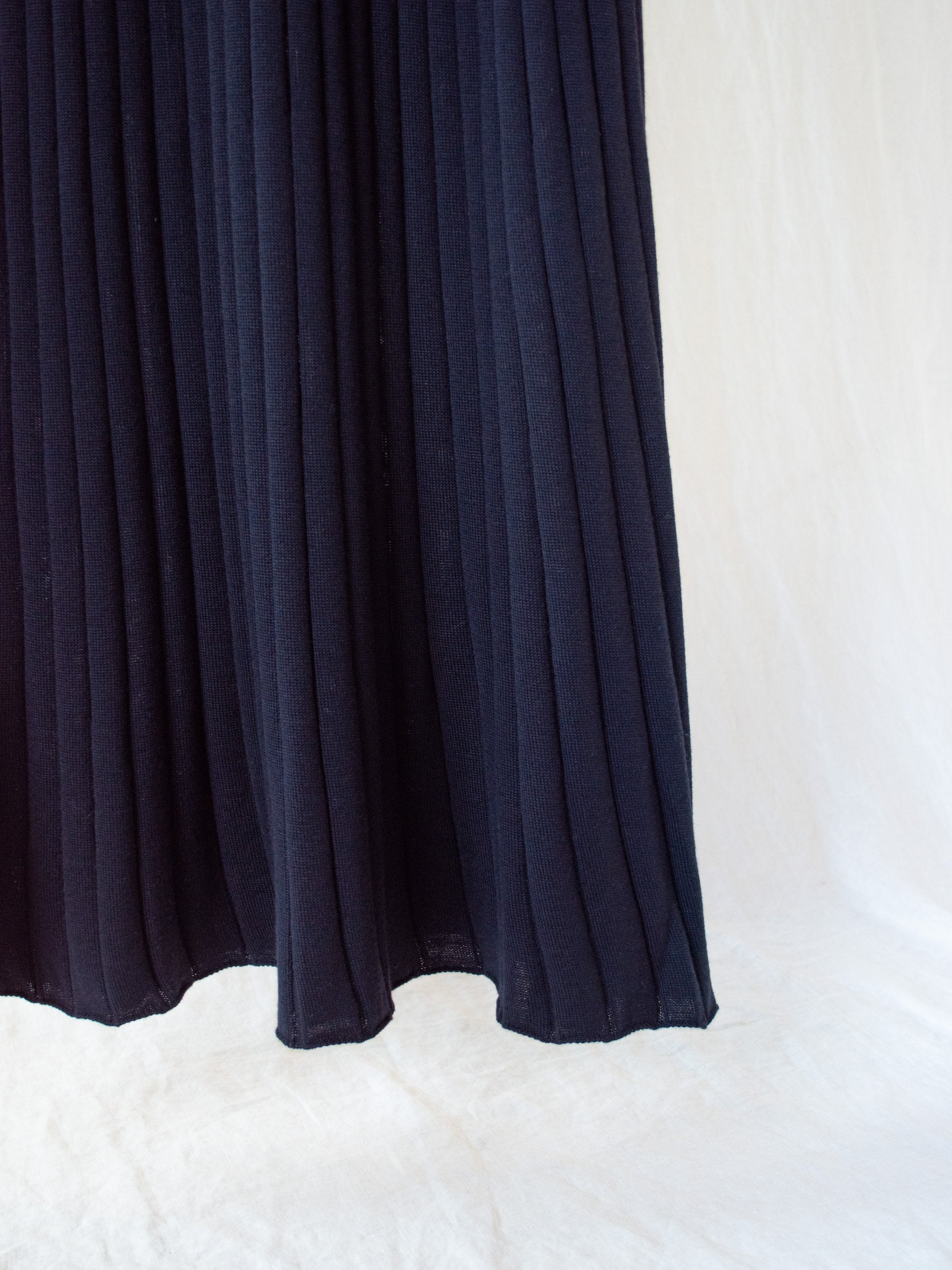 Namu Shop - Phlannel Wool Wide Rib Knit Dress - Navy