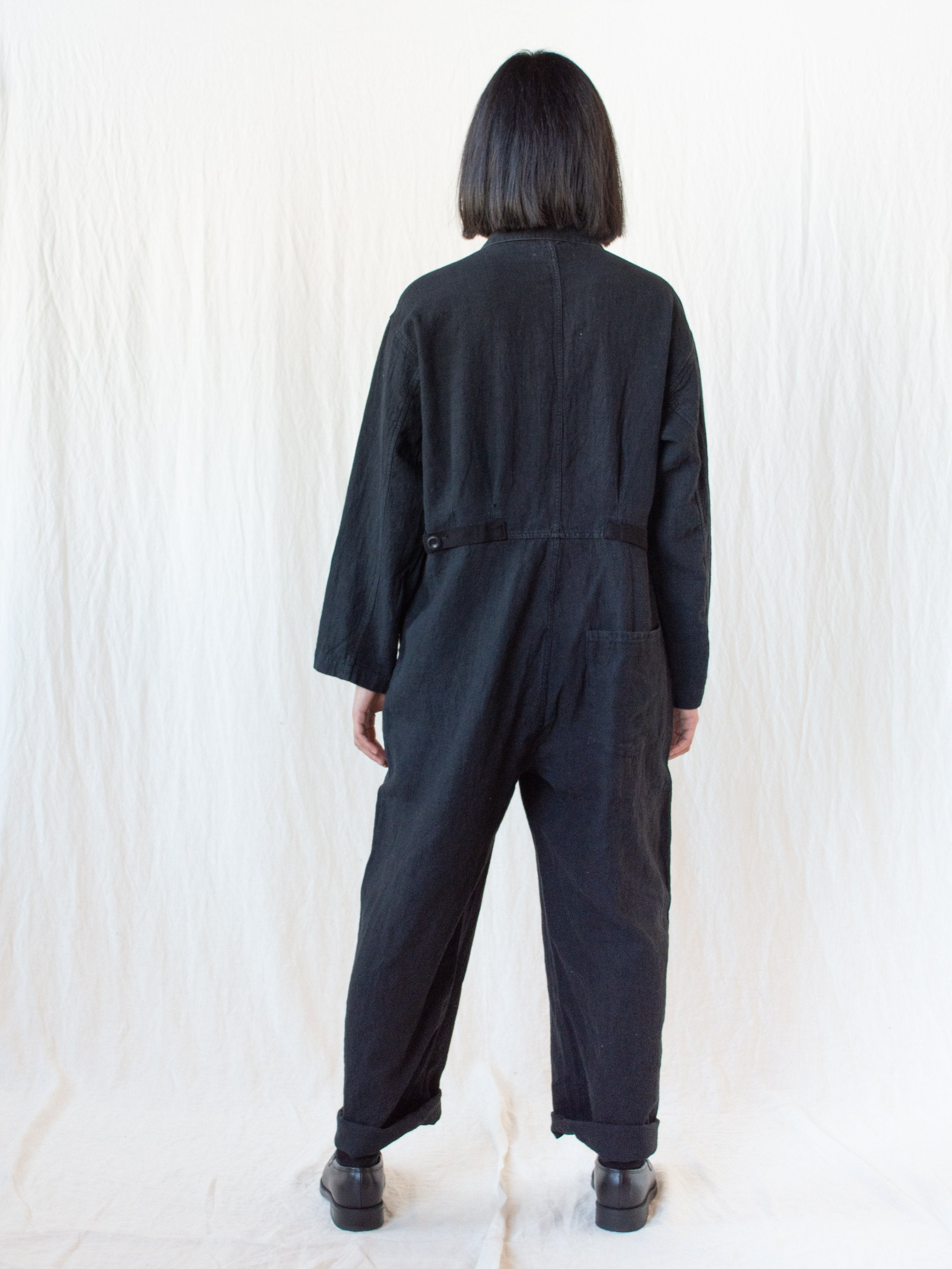 Namu Shop - Ichi Antiquites Linen Jumpsuit - Black