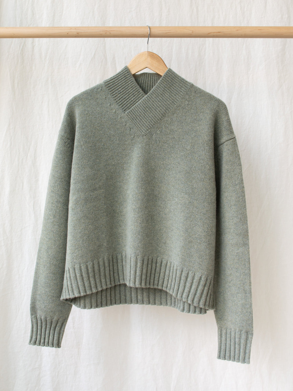 Namu Shop - Studio Nicholson British Lambswool Collar Knit - Matcha