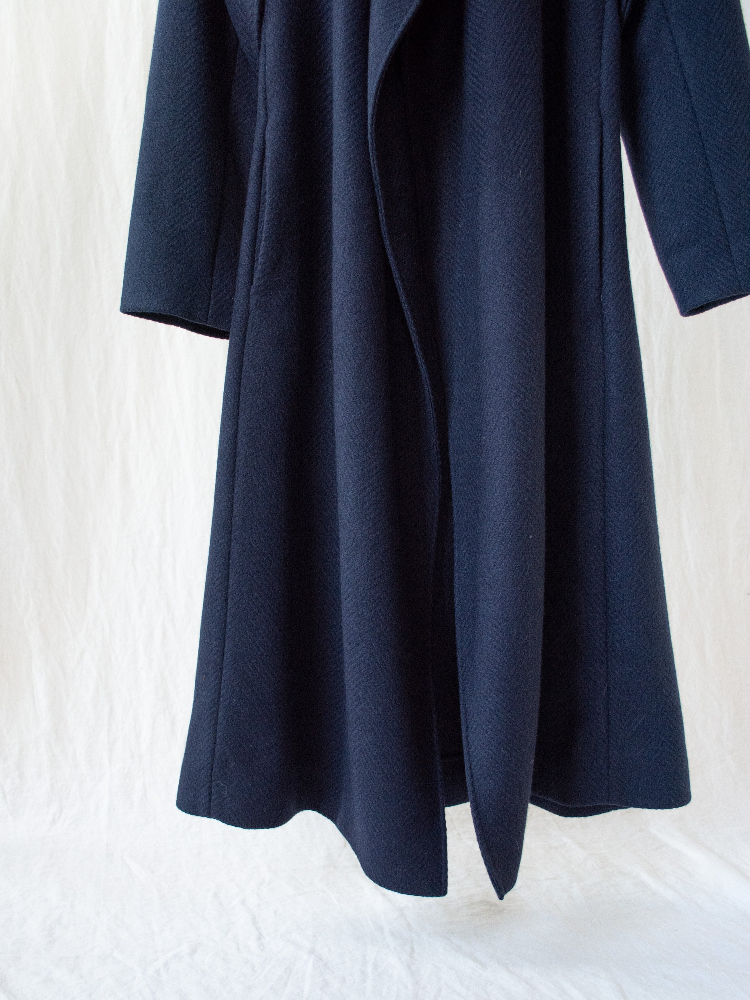 Namu Shop - Studio Nicholson Parsec Herringbone Drape Wrap Wool Coat