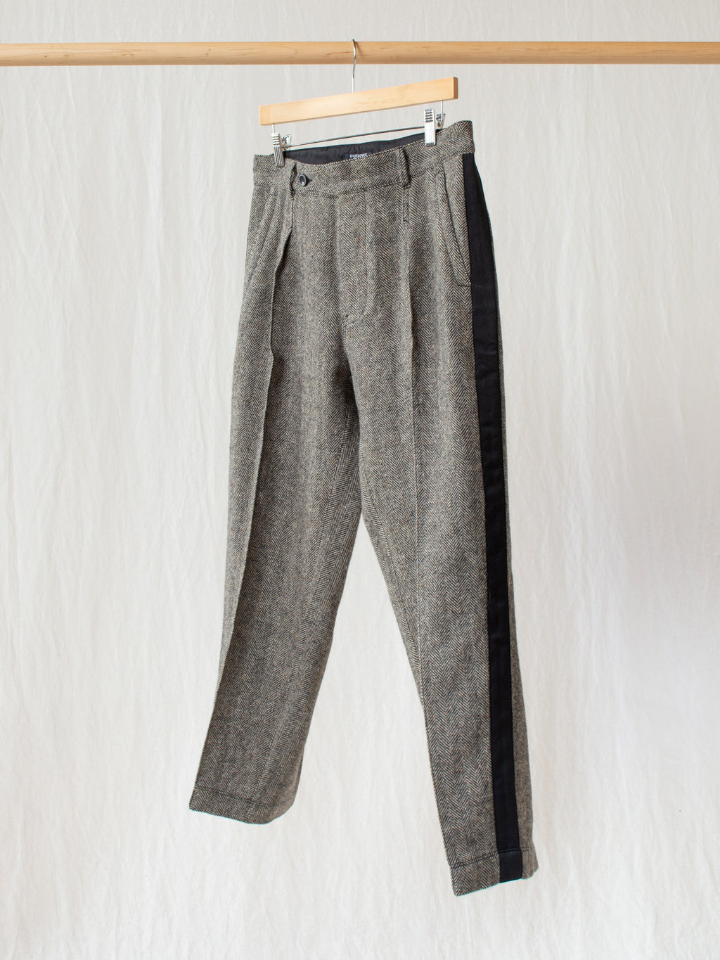 Namu Shop - Eastlogue Officer Pants - Black & Beige Herringbone