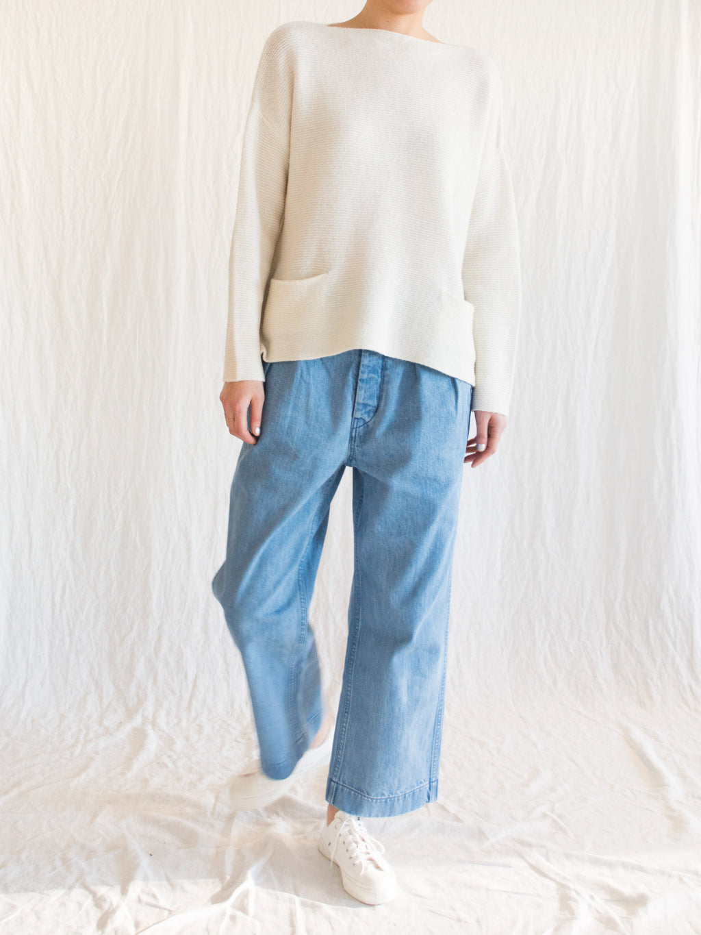 Namu Shop - Hatski 2Tack Denim Trouser - Ice Blue