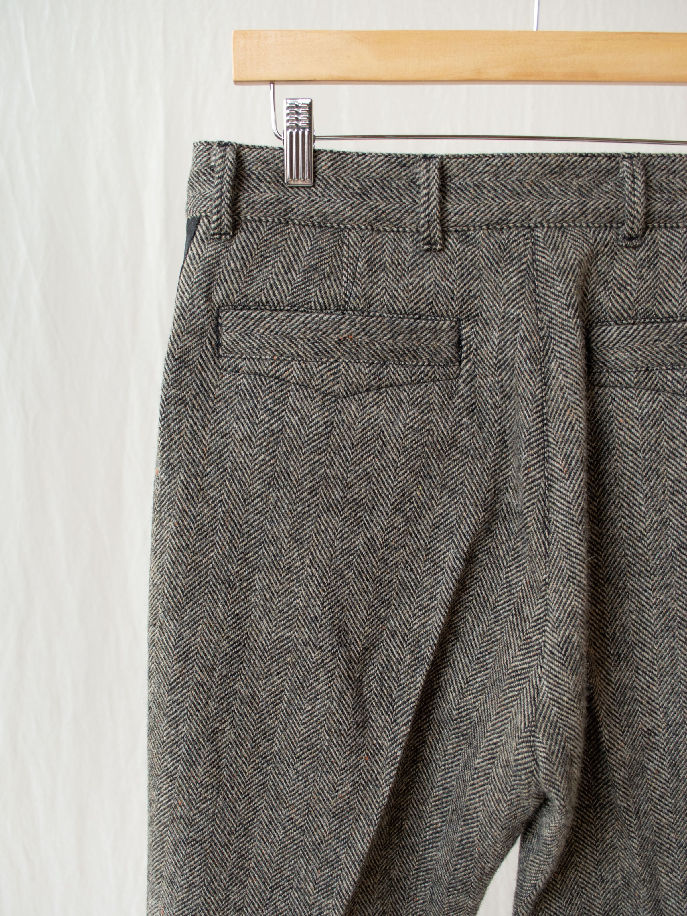 Officer Pants - Black & Beige Herringbone