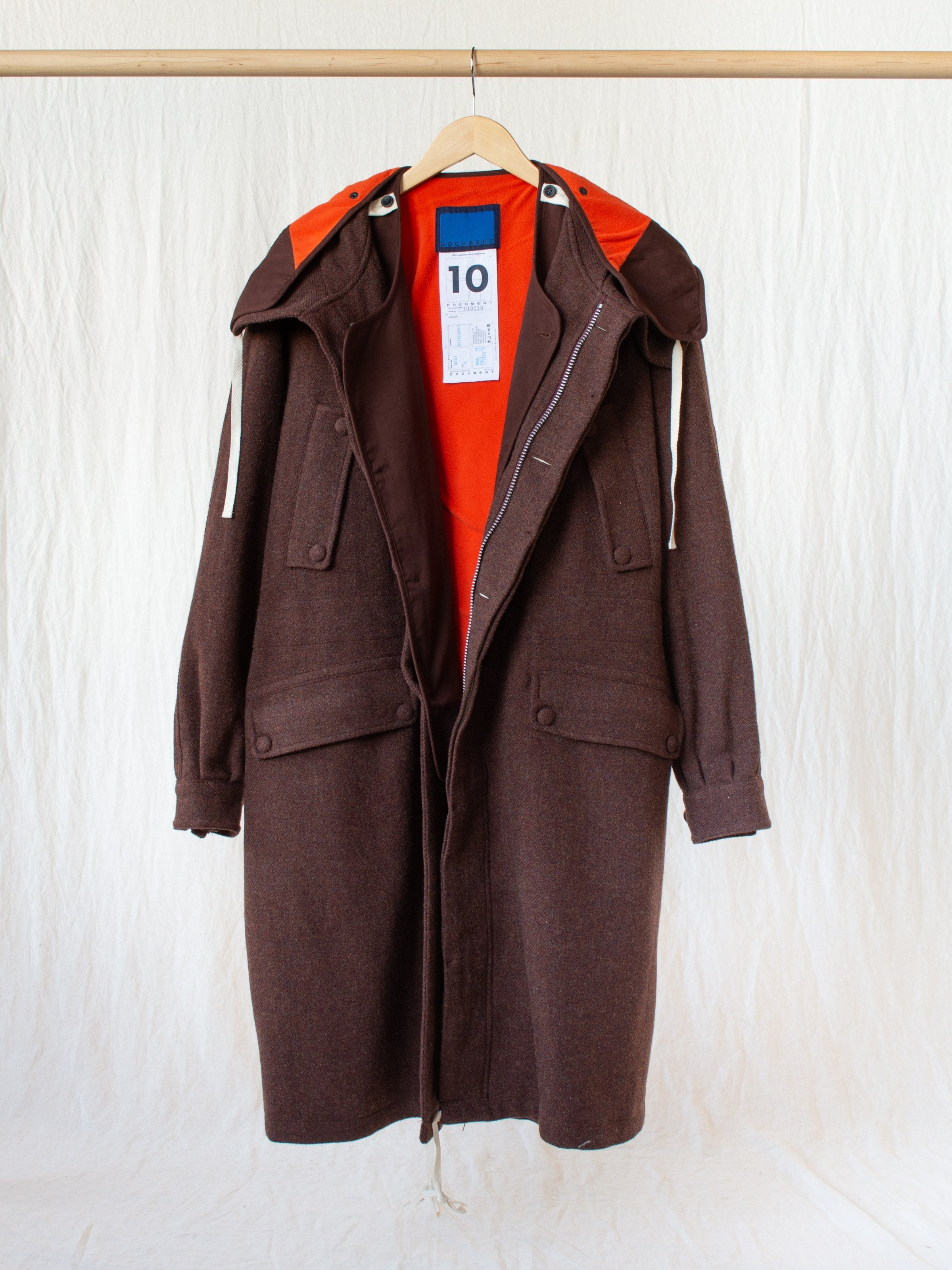Namu Shop - Document The Document Wool Parka - Brown/Orange