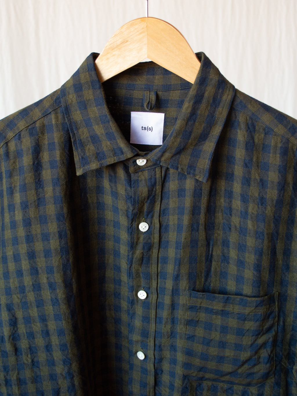 Namu Shop - ts(s) Irish Linen Baggy Shirt - Navy Gingham