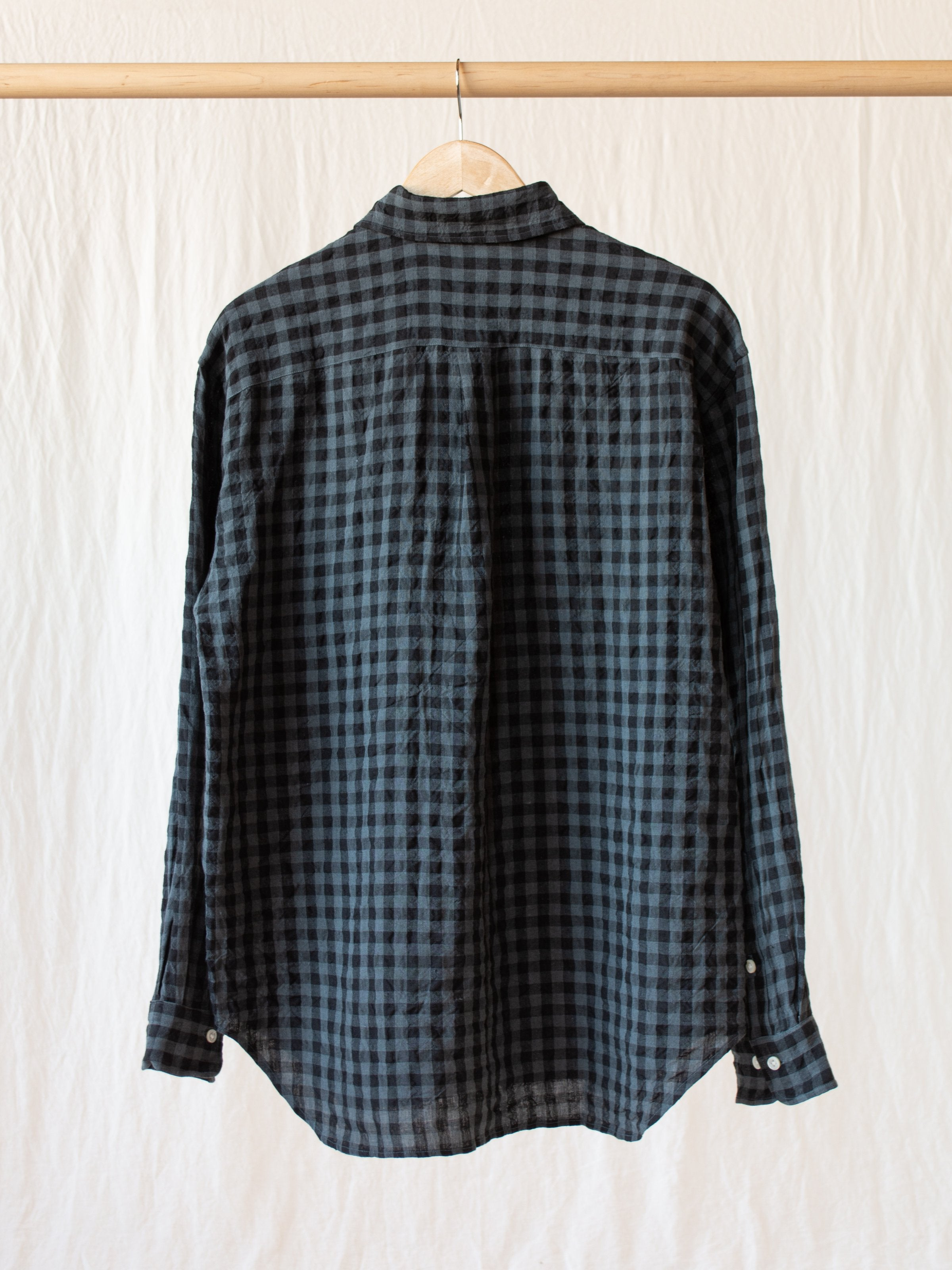 Namu Shop - ts(s) Irish Linen Baggy Shirt - Gray Gingham