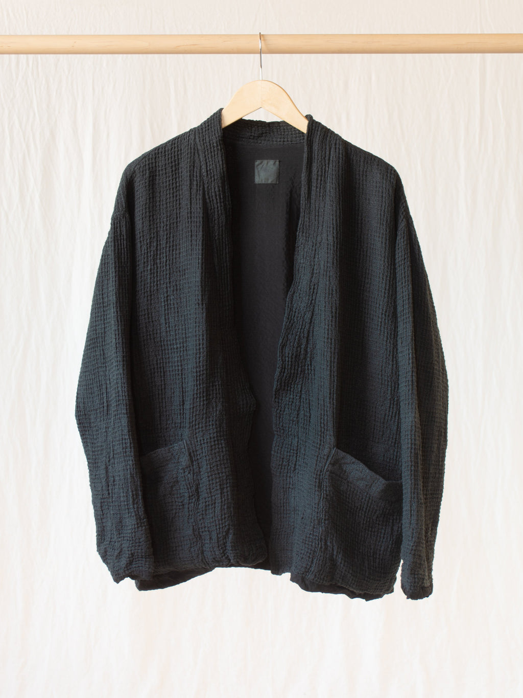 Namu Shop - ts(s) Garment Dyed Linen Waffle Easy Cardigan - Charcoal (Women's)