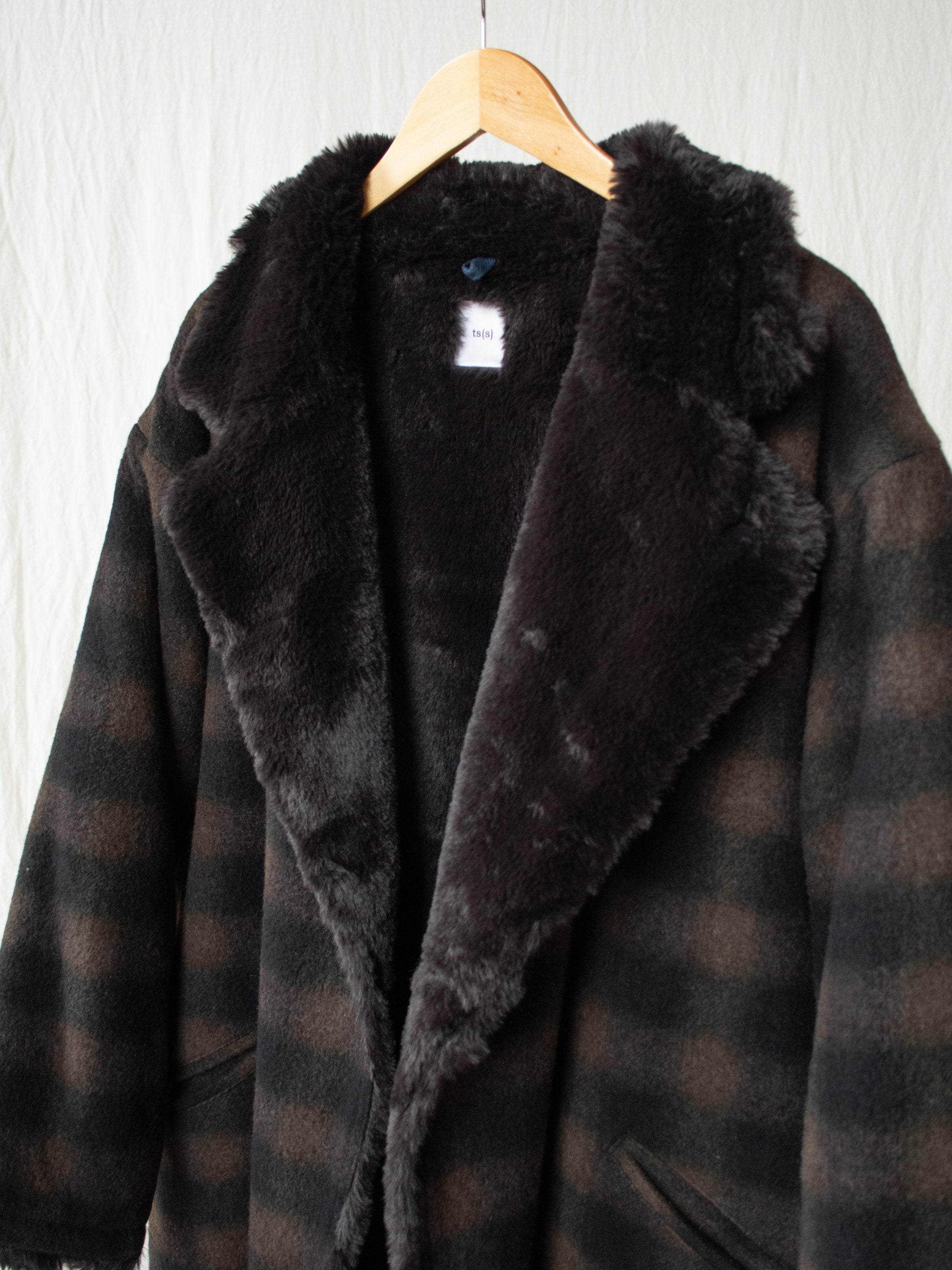 Namu Shop - ts(s) Boa Lined Belted Coat - Ombre Plaid Wool