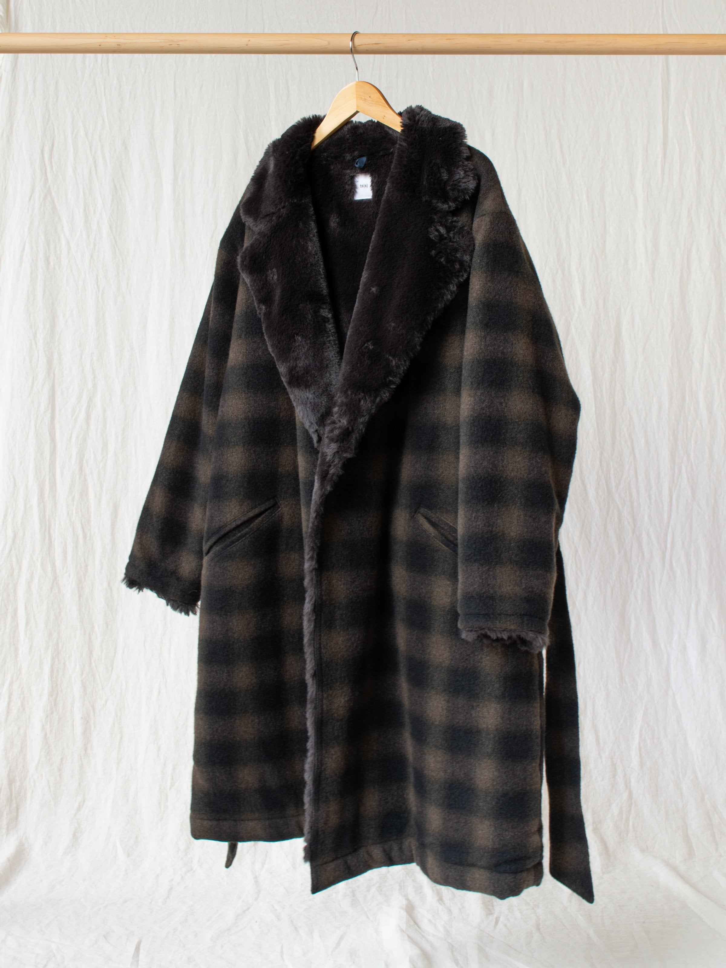 Boa Lined Belted Coat - Ombre Plaid Wool