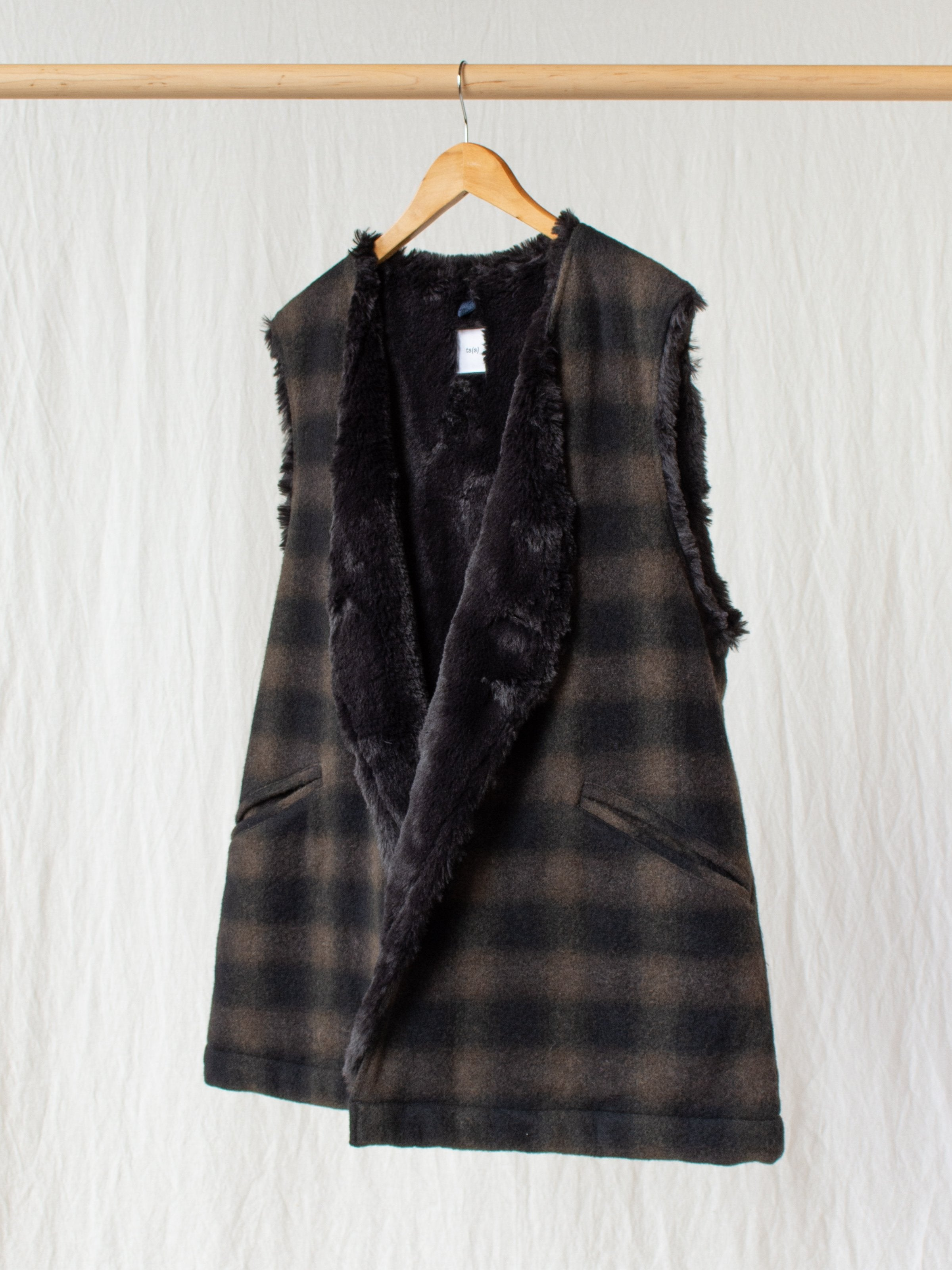 Boa Lined Belted Vest - Ombre Plaid Wool