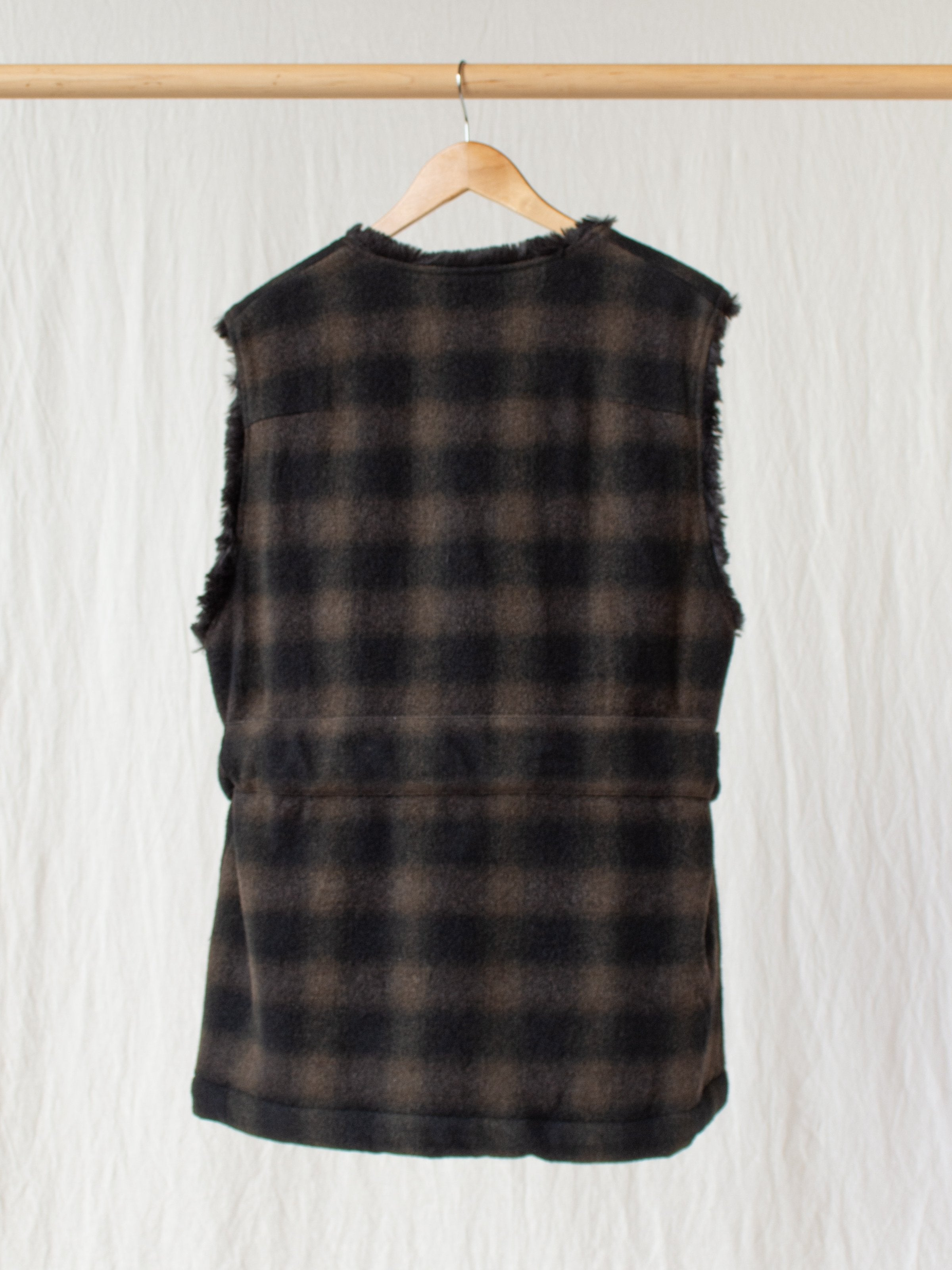 Namu Shop - ts(s) Boa Lined Belted Vest - Ombre Plaid Wool
