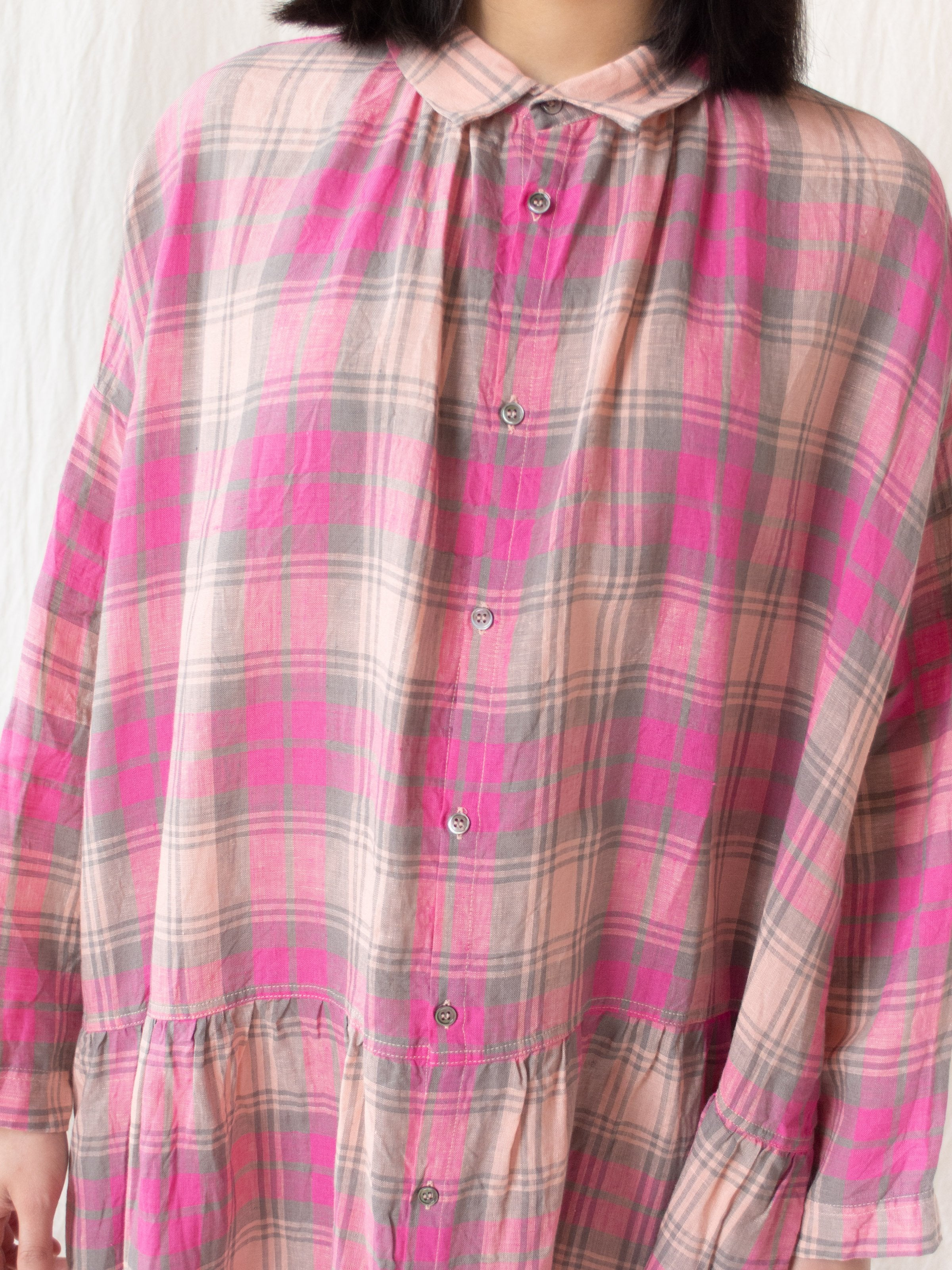 Namu Shop - Ichi Antiquites Linen Tartan Check Dress - Pink