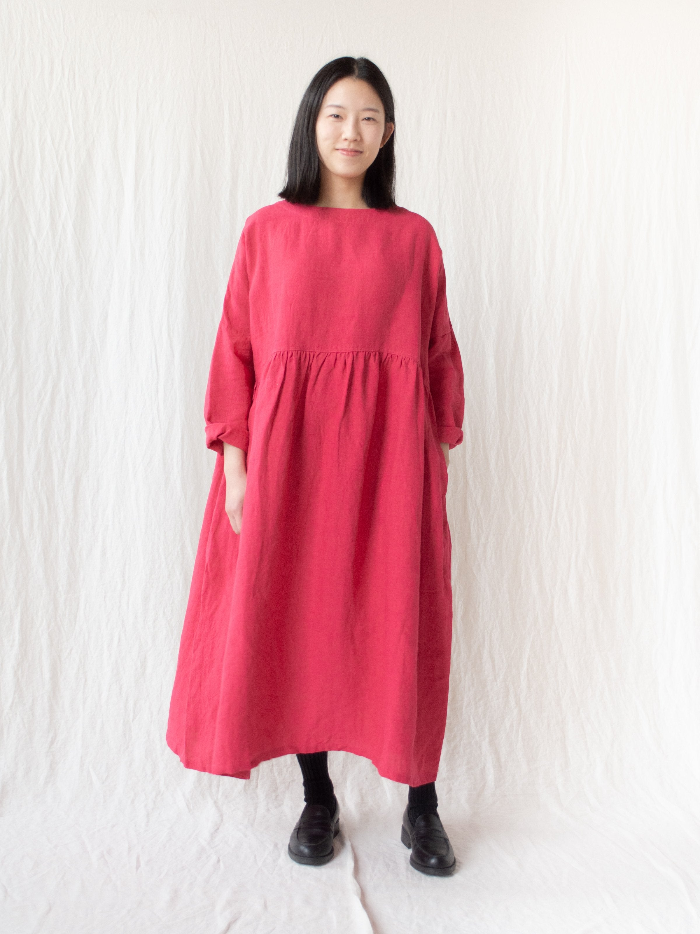 Namu Shop - Ichi Antiquites Linen Woven Dress - Pink
