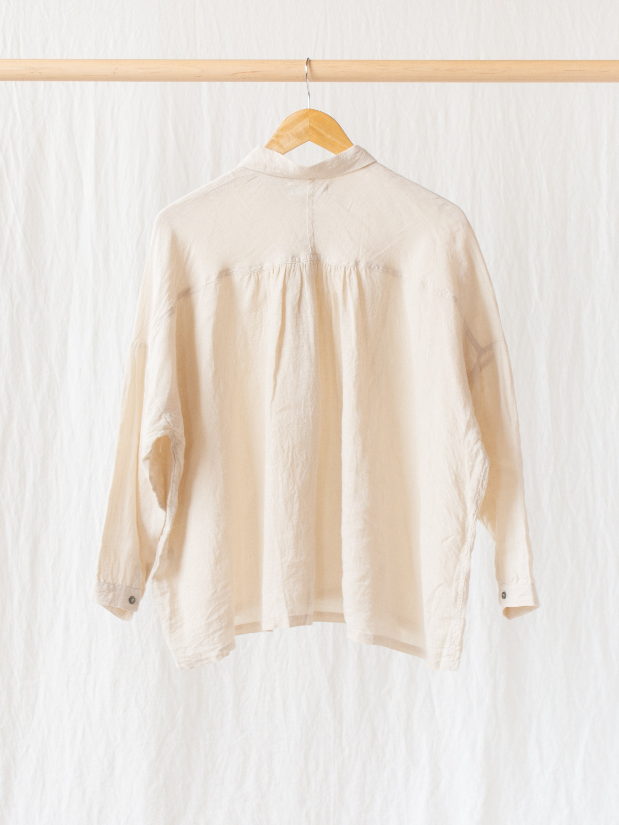 Namu Shop - Ichi Antiquites Linen Gather Shirt - Cream