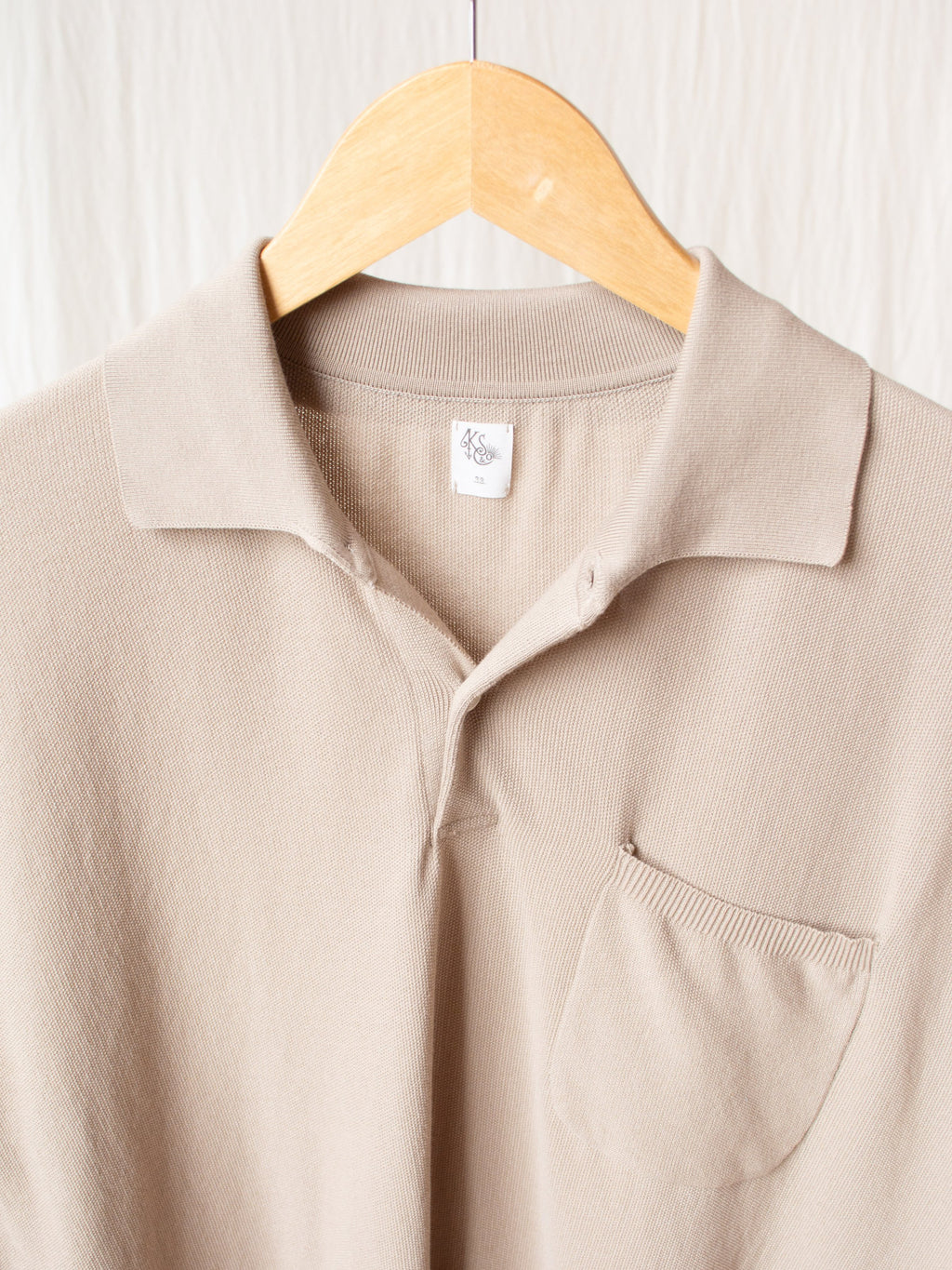Namu Shop - Kaptain Sunshine Polo Collar Pique Knit - Sand